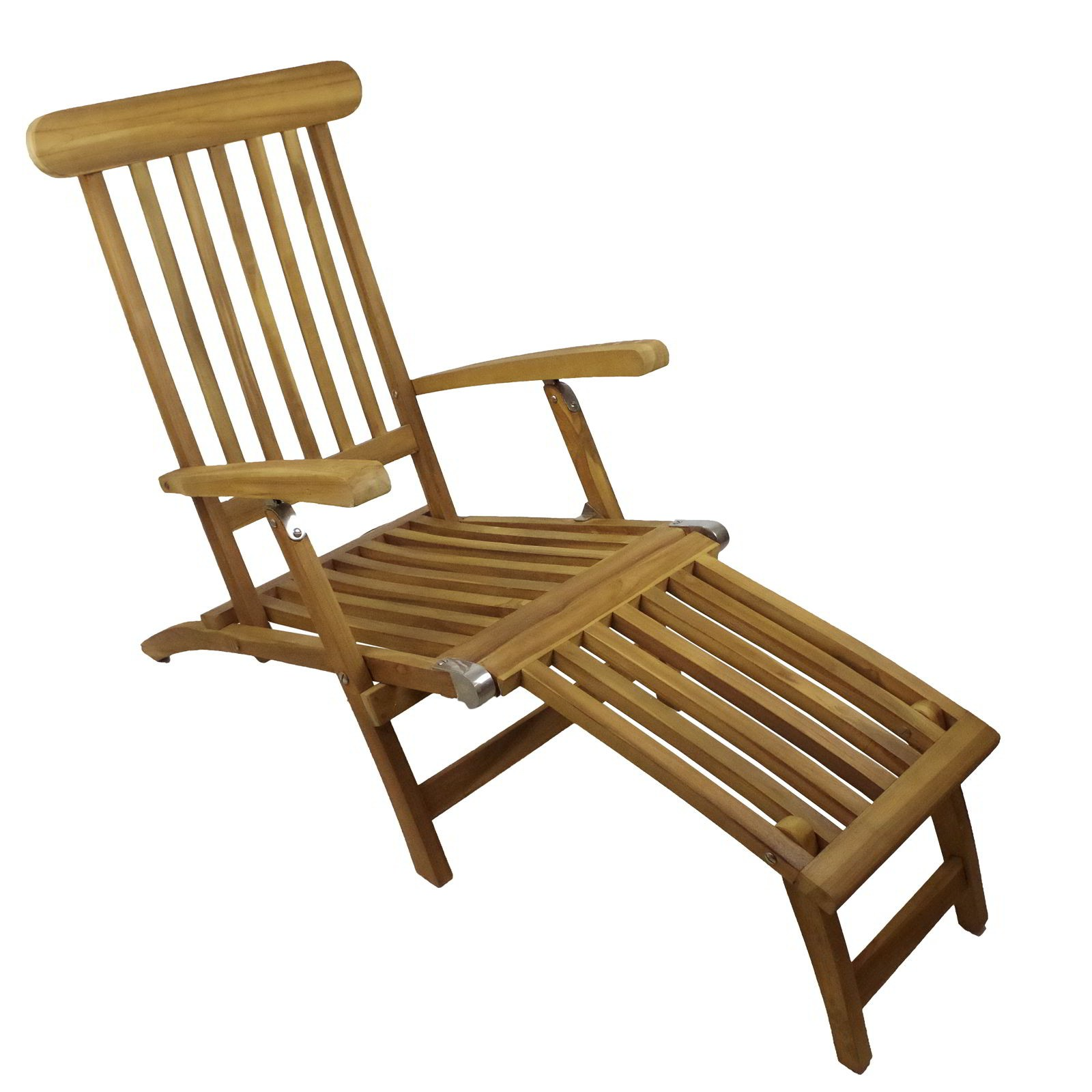 gartenstuhl deckchair teak 150x60x93cm edelstahl liegestuhl sonnenliege liege. Black Bedroom Furniture Sets. Home Design Ideas