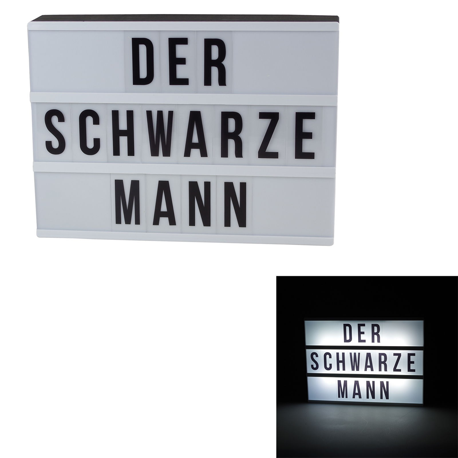 leuchtkasten led mit batteriebetrieb inkl buchstaben symbole lampe. Black Bedroom Furniture Sets. Home Design Ideas