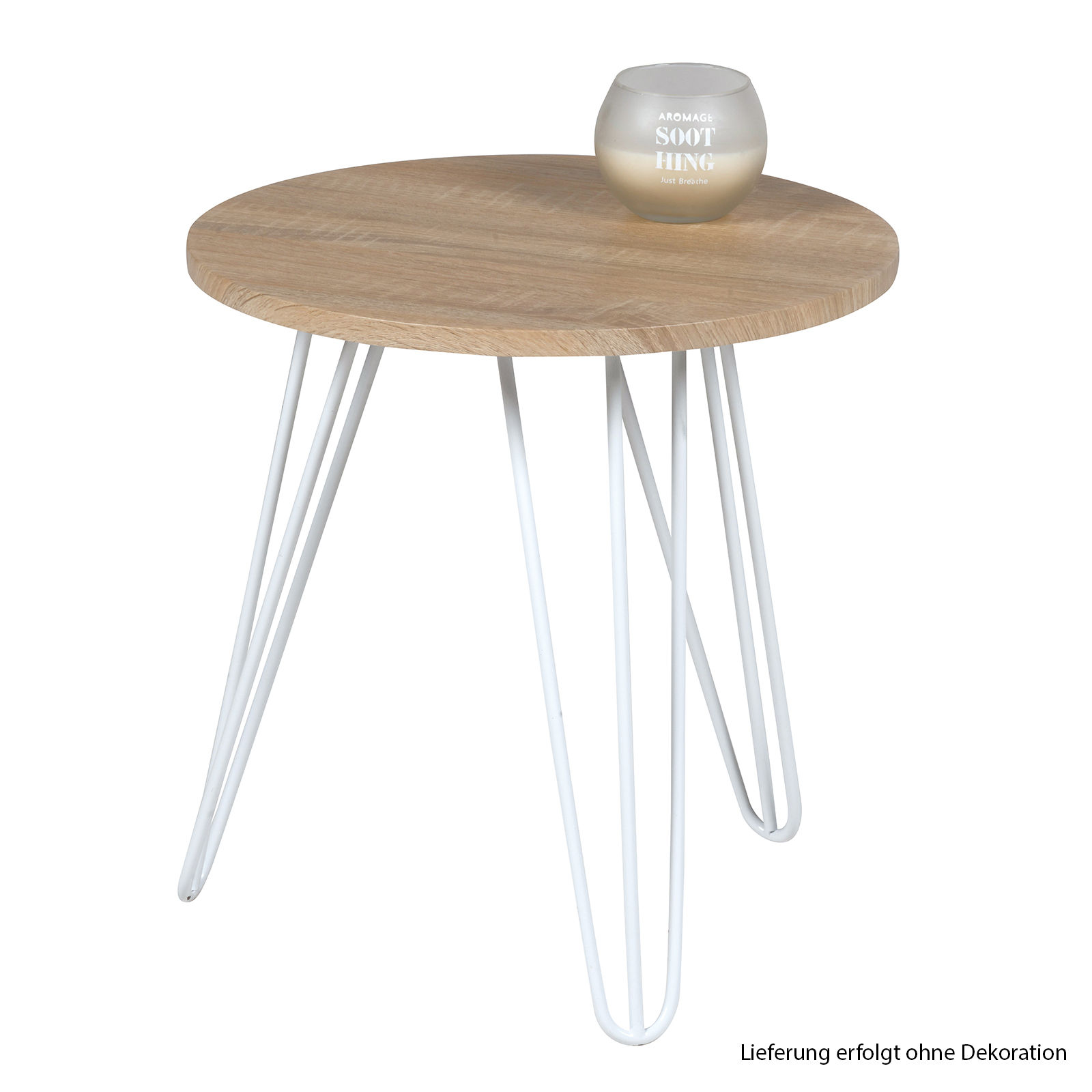 GroBartig Tisch Rund 40x42cm Beistelltisch Holz Metall Telefontisch Couchtisch  Nachttisch