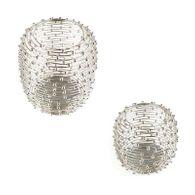 Windlicht Metall silber Größe wählbar Kerzenhalter Kerzenständer Metallständer