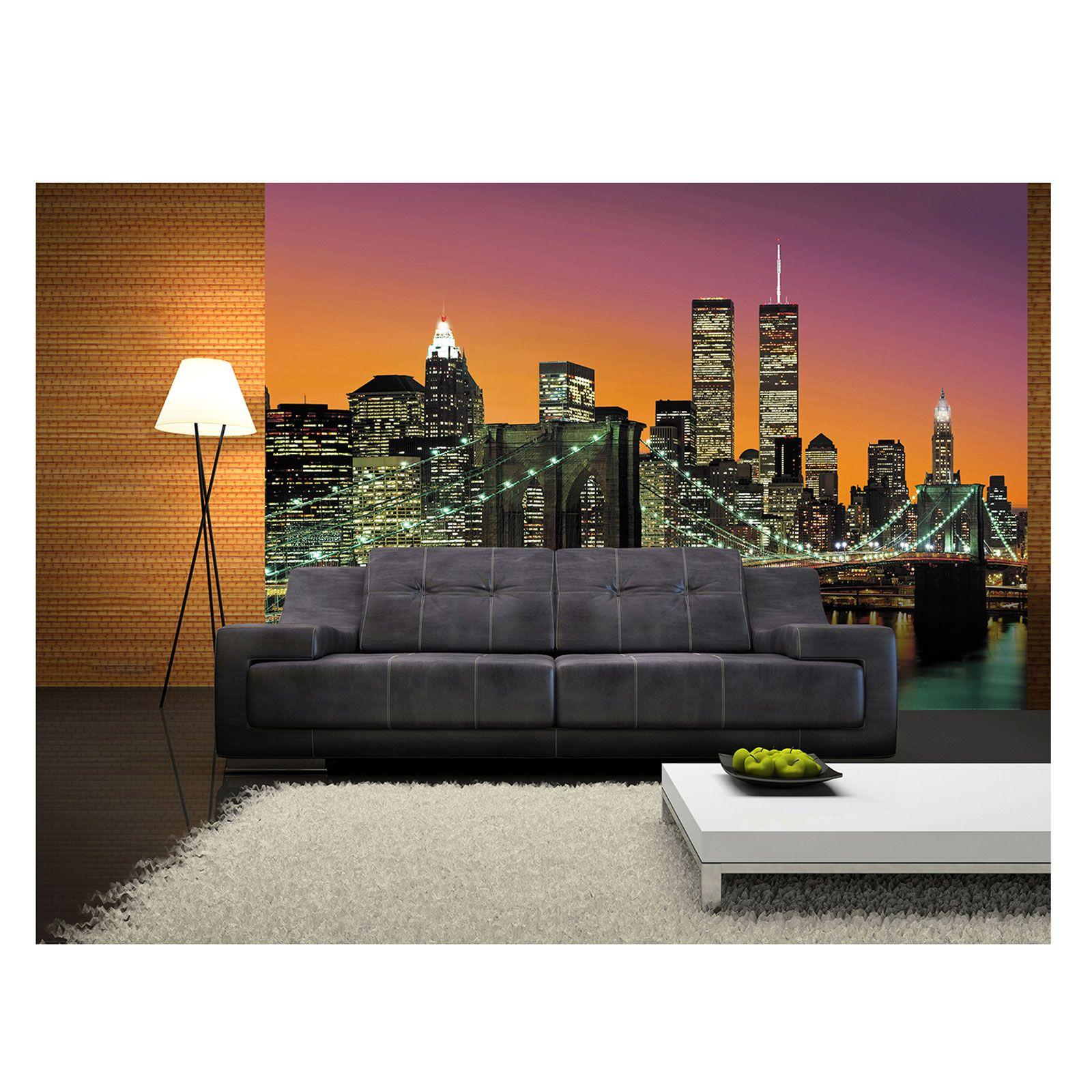 vlies fototapete new york city 8 teilig tapete 366x254cm bildtapete collections city foto tapete. Black Bedroom Furniture Sets. Home Design Ideas