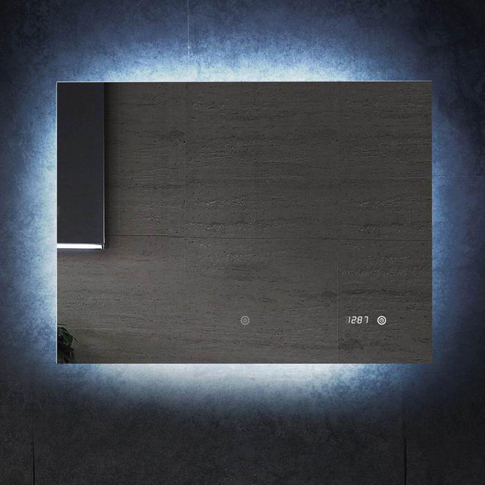 badspiegel 80x60cm mit led beleuchtung uhr spiegel wandspiegel bad. Black Bedroom Furniture Sets. Home Design Ideas