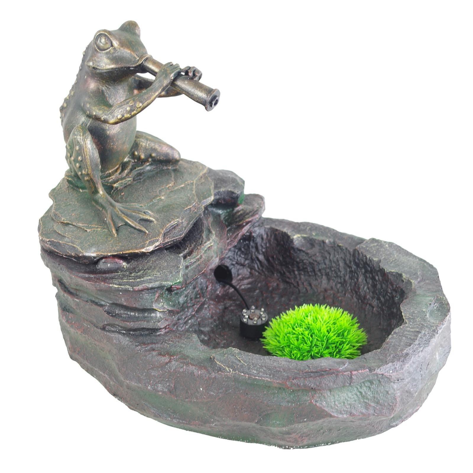 brunnen mit pumpe led frosch kunststein zimmerbrunnen deko