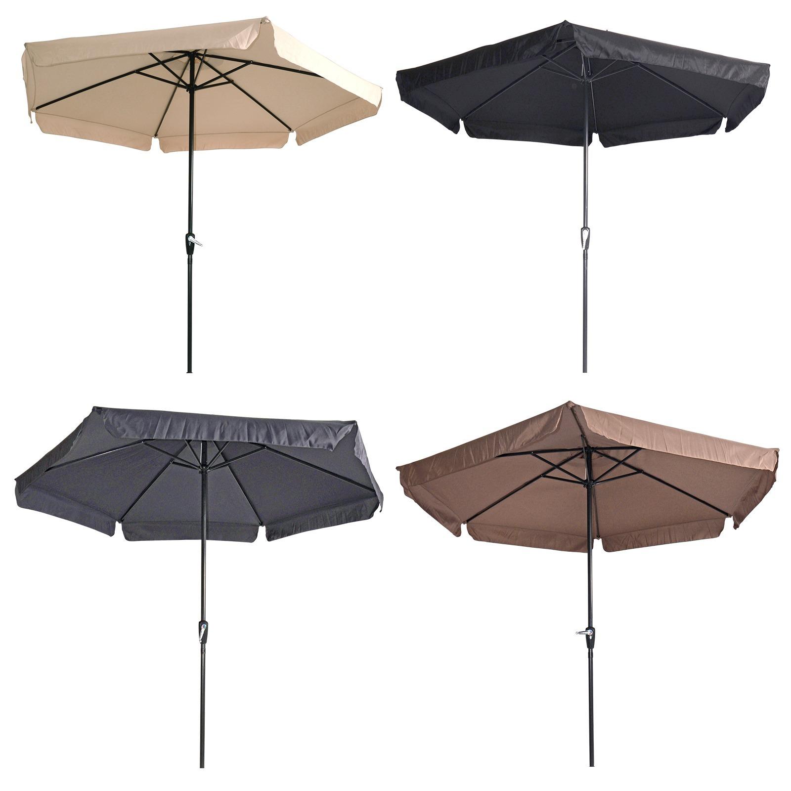 Sonnenschirm Mit Kurbel 3m Ecru Schwarz Grau Oder Taupe Gartenschirm Schirm