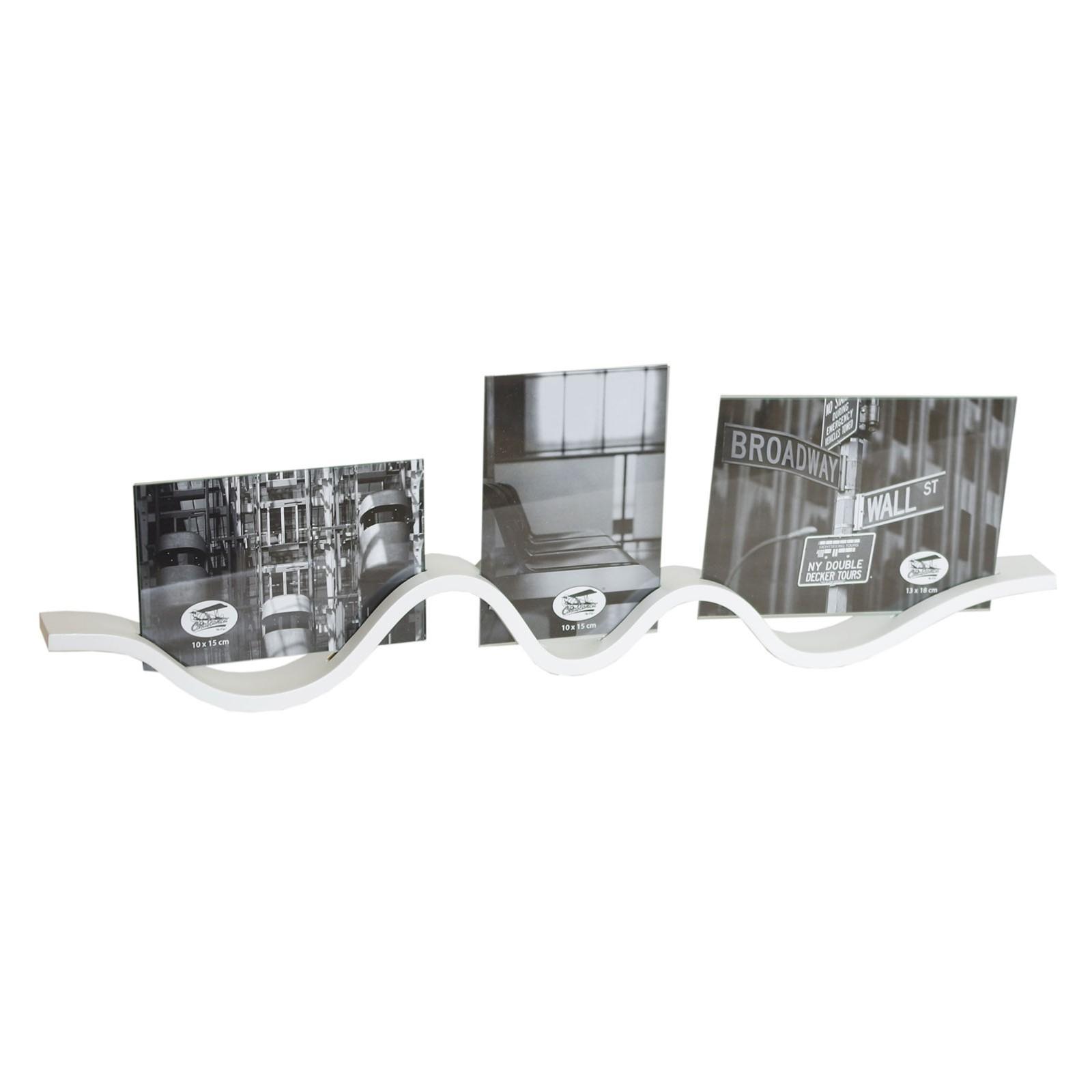 Fotorahmen weiss 3Bilder Waves 56x17cm MDF Bilderrahmen