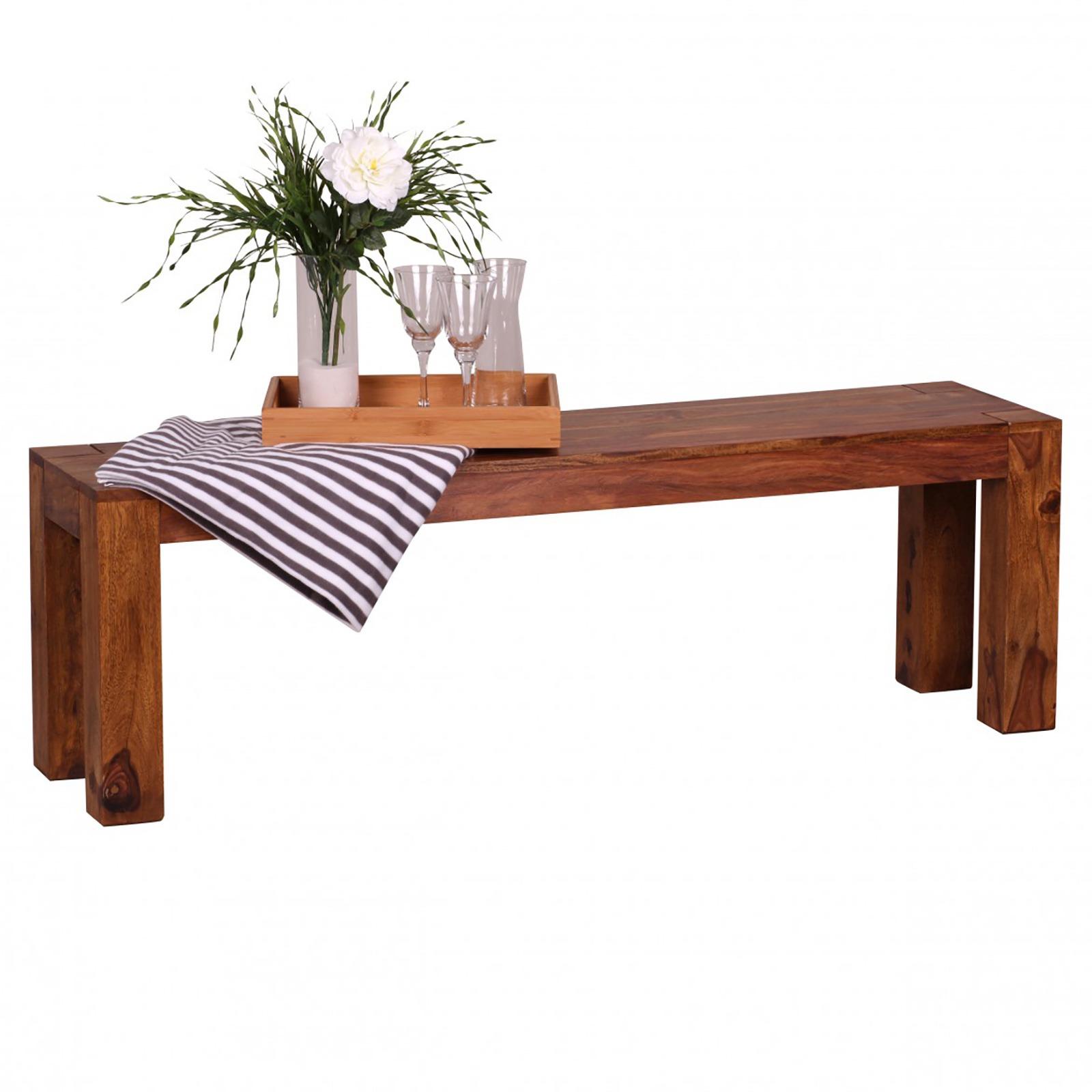 Sitzbank aus sheesham Massivholz 140x45x35cm Holzbank Esstisch Küche