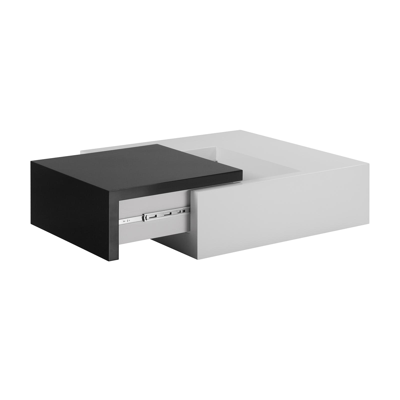 Couchtisch Ausziehbar MDF 100x100x30cm Weiß Schwarz Wohnzimmertisch  Wohnzimmer