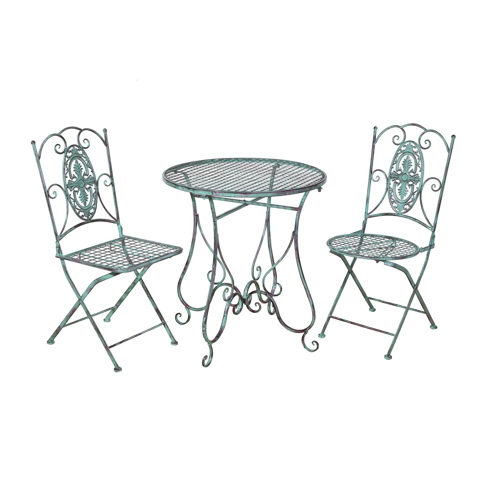 Balkonmöbel set metall  Gartenmöbel 1Tisch und 2Stühle aus Metall in Kupferpatina Gartenset