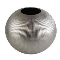 Vase Dekovase Gola 28x25cm Handarbeit Aluminium Rillendekor Tischvase Dekoobjekt
