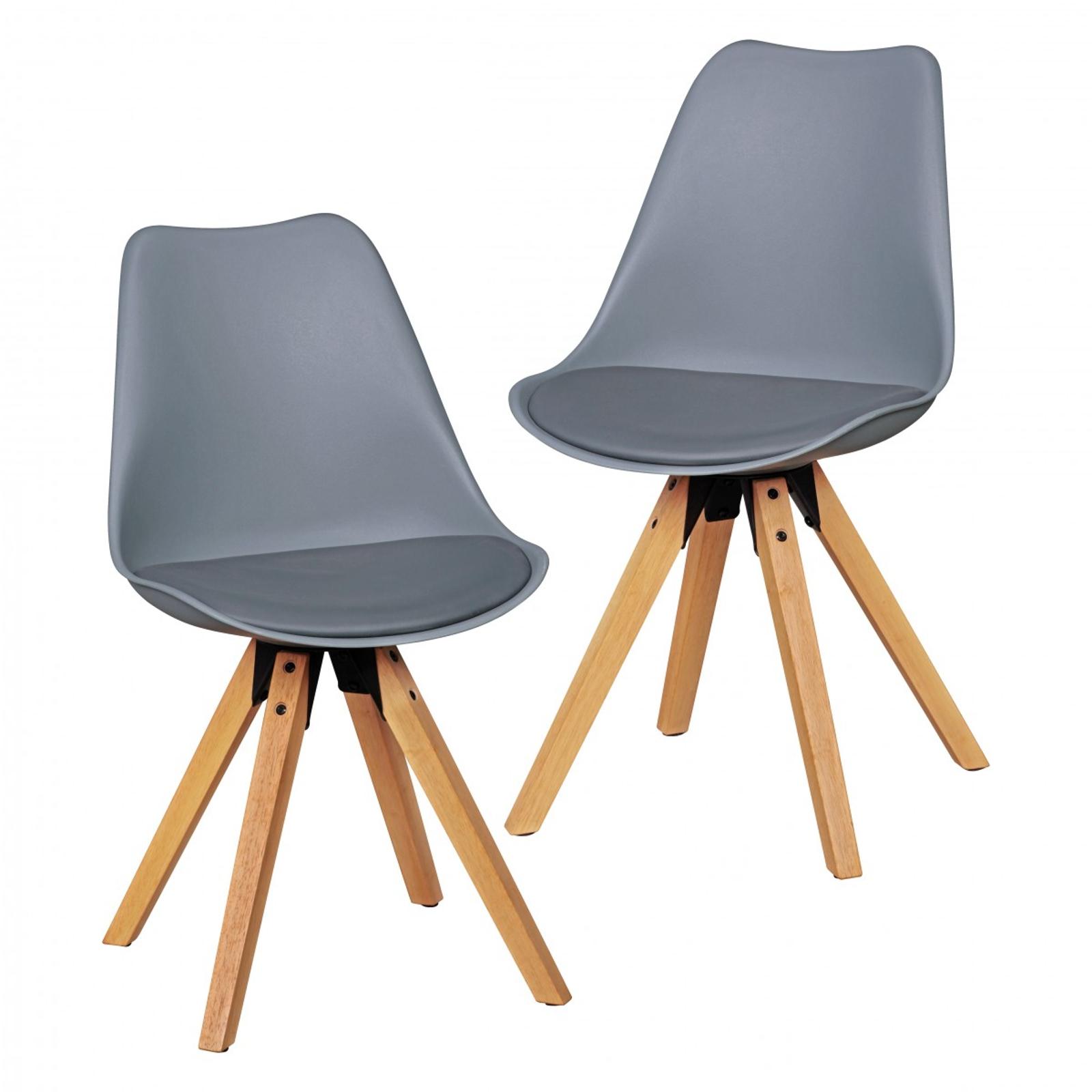 polsterstuhl set 2st ck grau gepolstert holz k chenstuhl stuhl. Black Bedroom Furniture Sets. Home Design Ideas