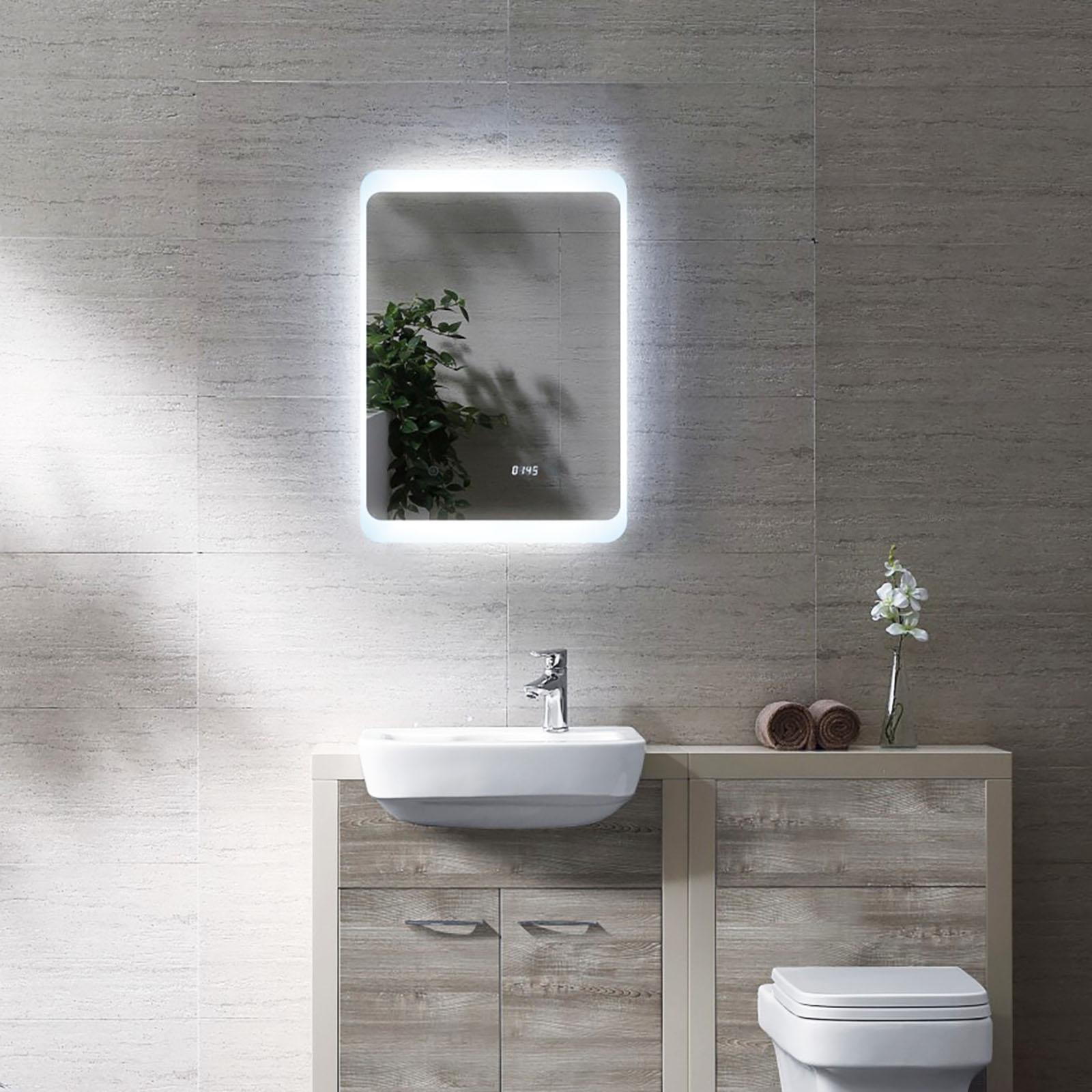 Lichtspiegel mit LED Licht und Uhr Badspiegel Hängespiegel Touch