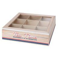 Kiste Teekiste 9Fächer Holz 24x24x7cm Glasscheibe Maritim Teebeutelbox Teebox
