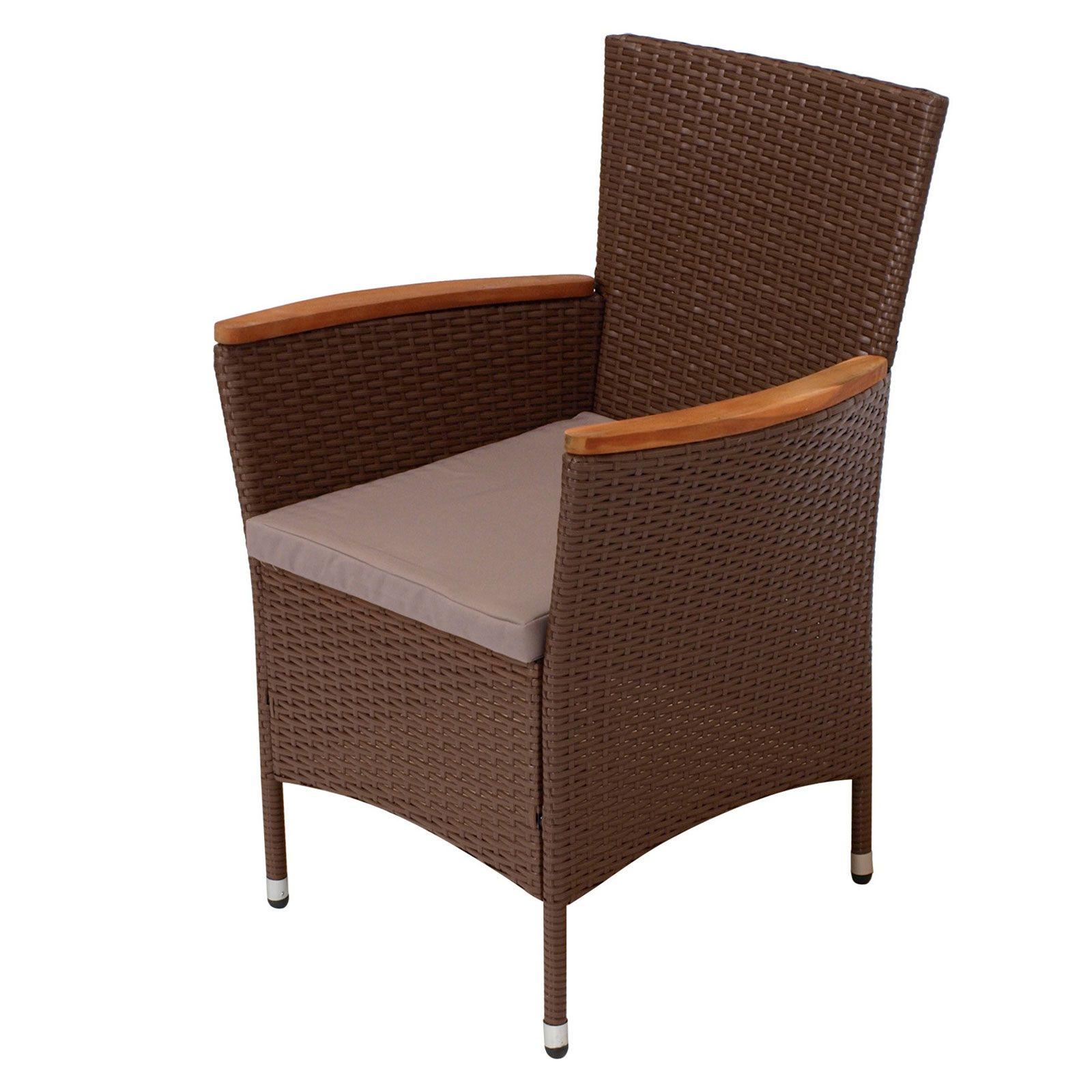 GroBartig Polyrattan Gartenstühle 2Stück Gartensessel Club Braun Akazie Armlehnen  Sessel