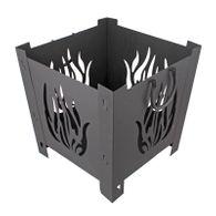 Feuerkorb schwarz 34x34/38x38cm Feuerschale Metall Gartenfeuer Gartendeko Griffe