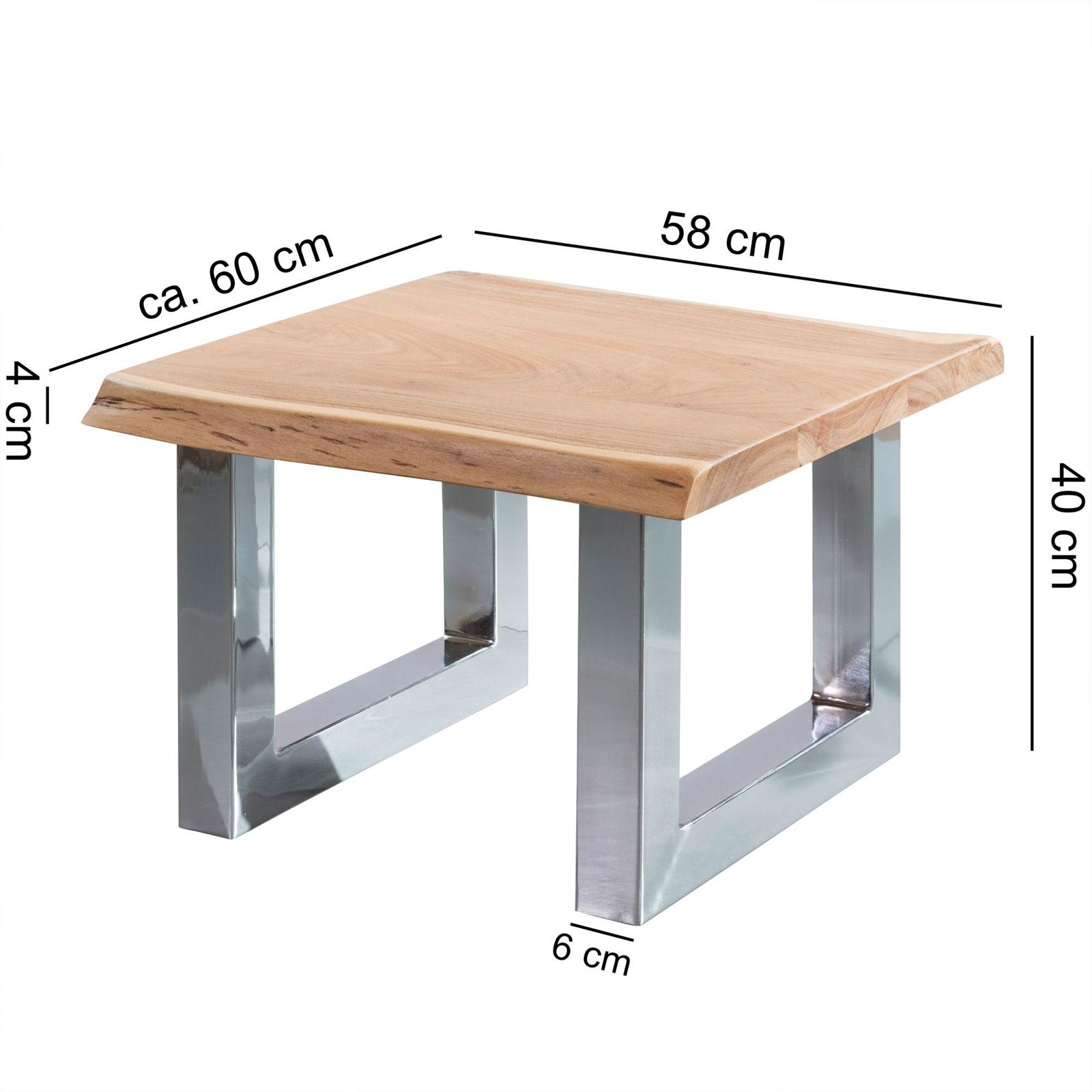 Couchtisch Akazie 58x40x60cm Wohnzimmertisch Holz Massiv Baumkante ...