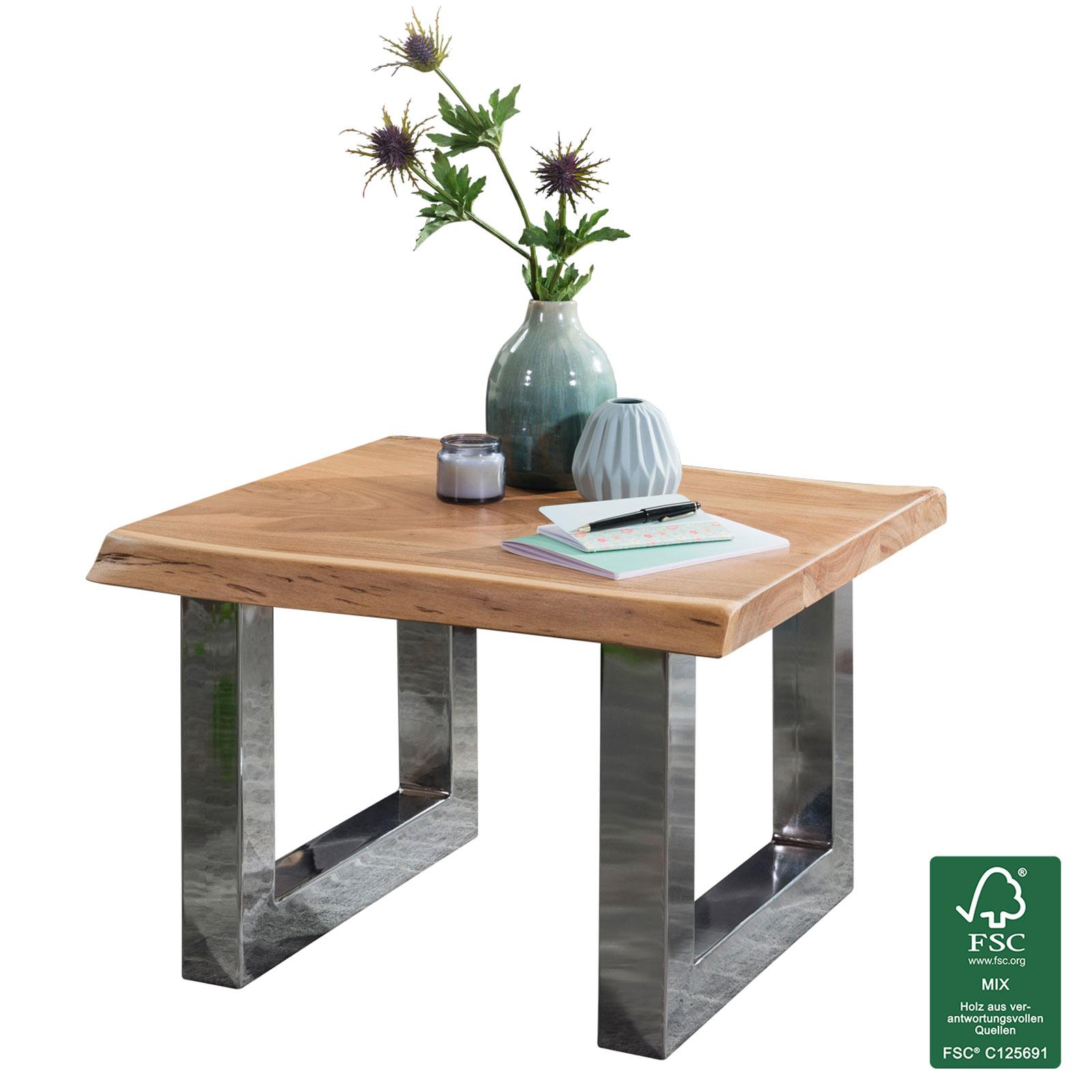 Couchtisch Akazie 58x40x60cm Wohnzimmertisch Holz Massiv Baumkante