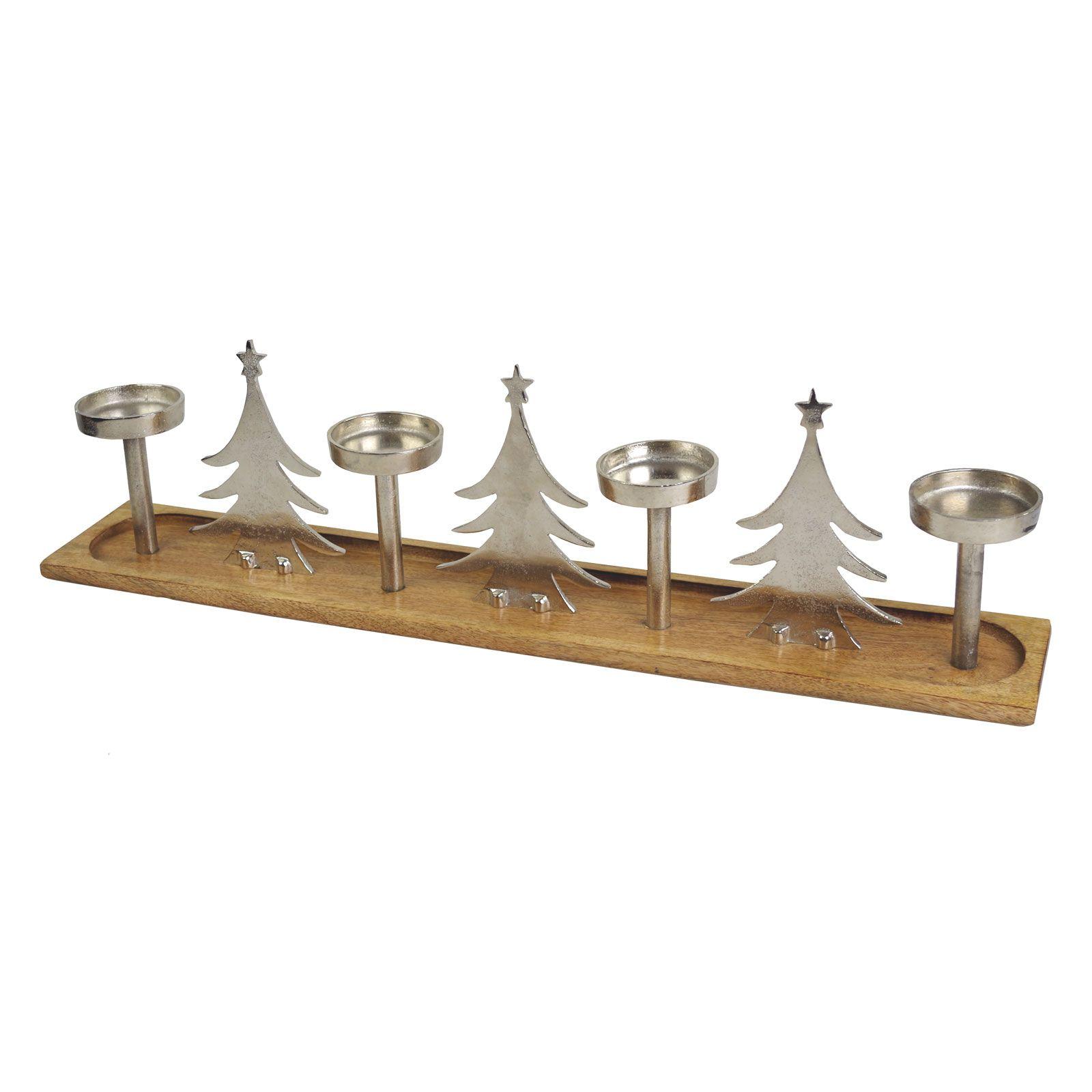 aluminium mangoholz kerzenständer tree 76x13x21cm adventsleuchter