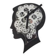 Wanduhr Brainwork 22x7x31cm schwarz/silber geräuscharm Kunststoff Metall Dekouhr