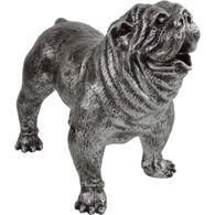 Dekofigur Bulldogge 38x25x44cm silber/schwarz Polyresin stehend Gartendeko 001