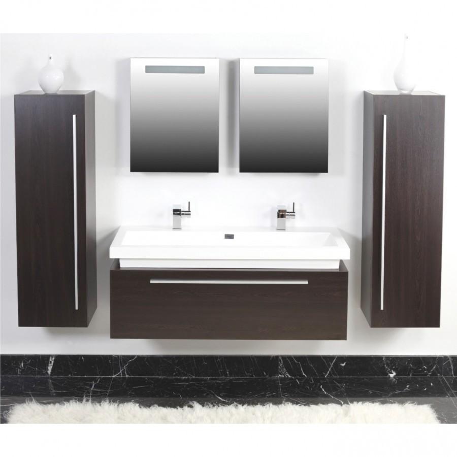 badezimmer badm bel set 5tlg wenge doppelwaschbecken spiegelschr nke. Black Bedroom Furniture Sets. Home Design Ideas