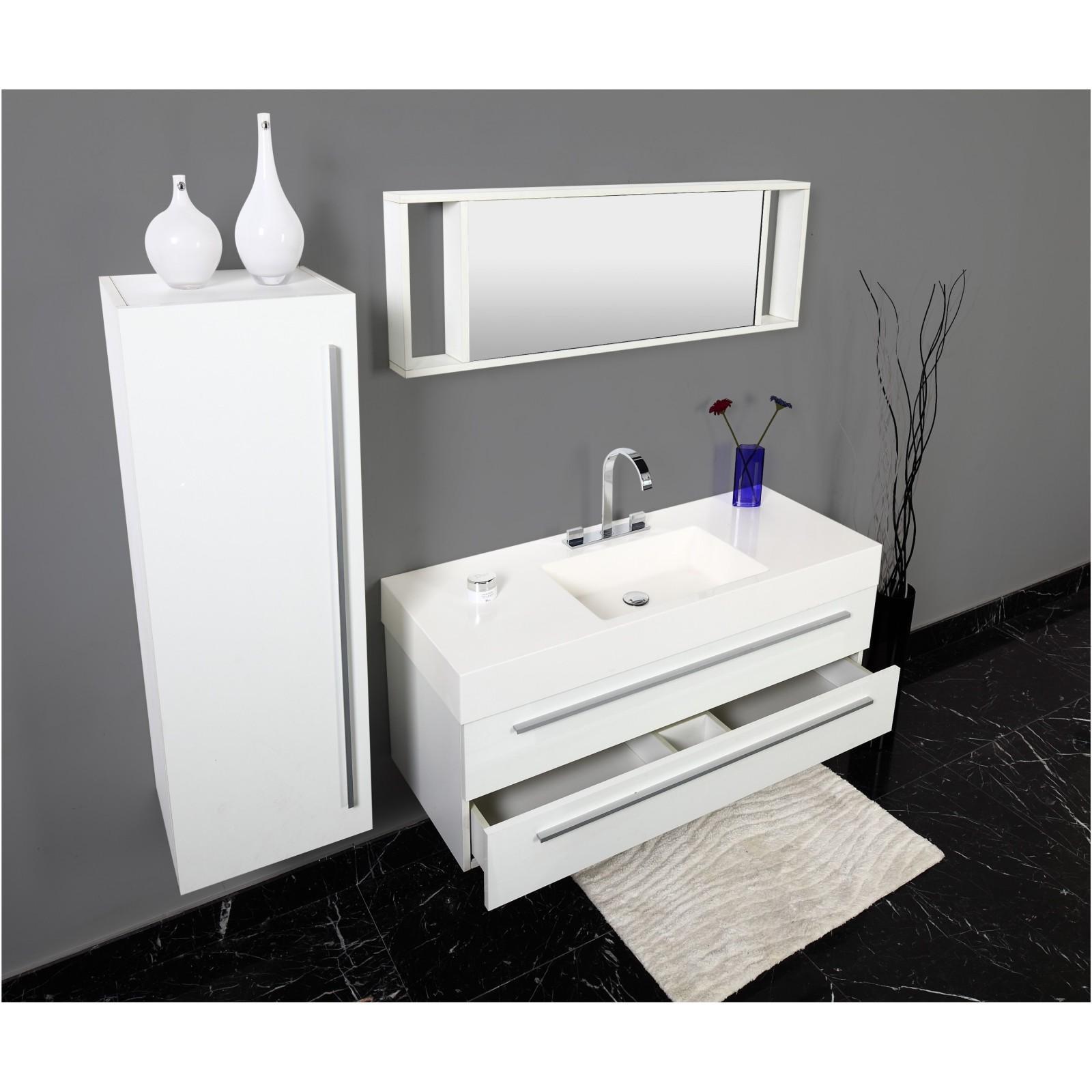 badm bel set badezimmer 3tlg weiss waschbecken hochschrank spiegel. Black Bedroom Furniture Sets. Home Design Ideas