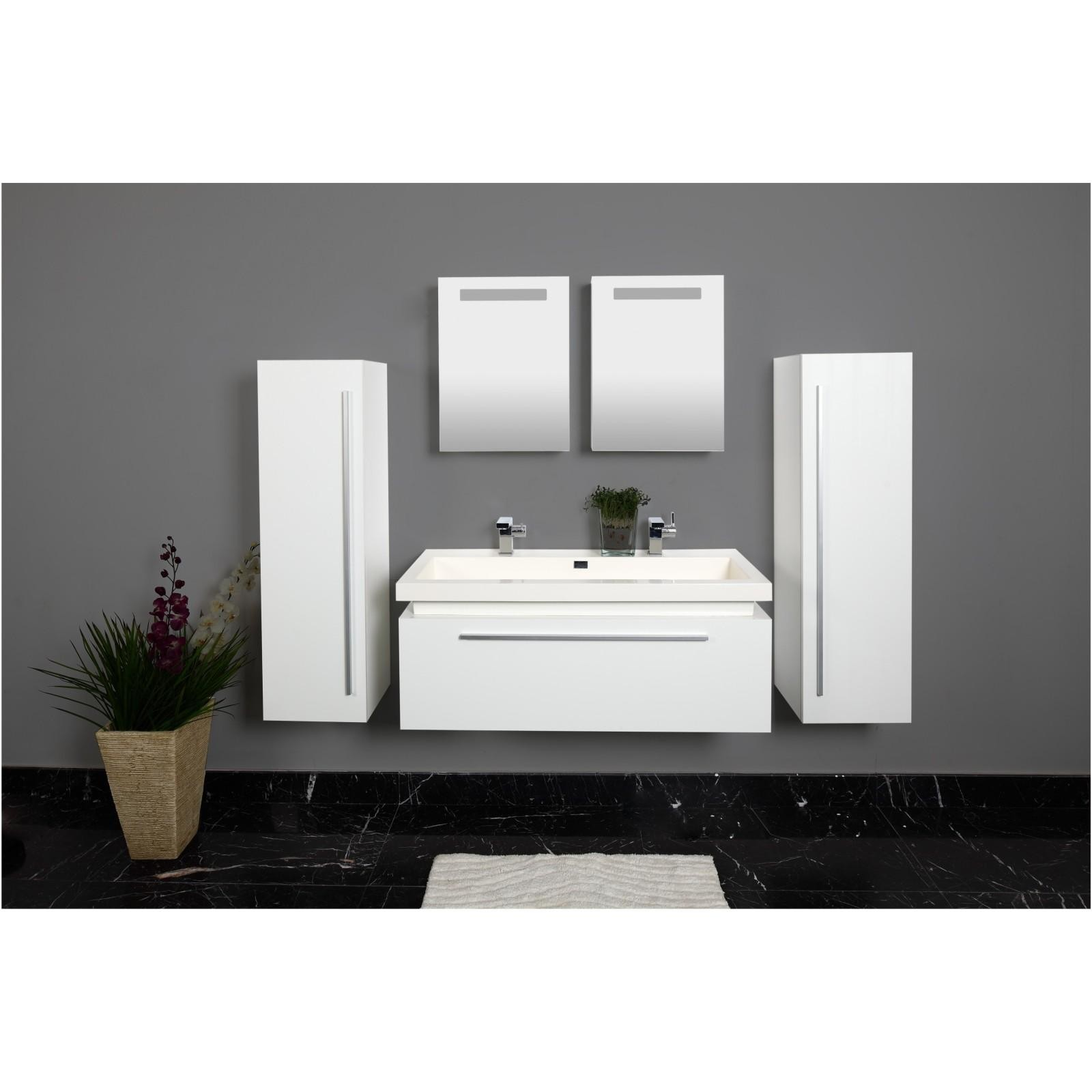 badezimmer badm bel set 5tlg weiss doppelwaschbecken spiegelschr nke. Black Bedroom Furniture Sets. Home Design Ideas