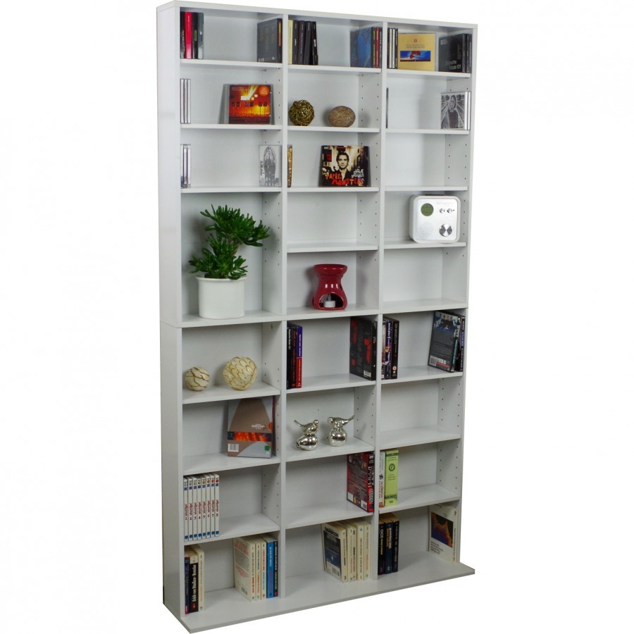 cd dvd regal 102x23x180cm weiss bis 1080cds regalwand wandregal. Black Bedroom Furniture Sets. Home Design Ideas