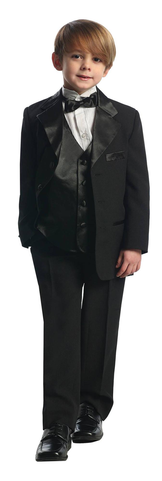 BIMARO Jungen Anzug Felix schwarz Kinderanzug Taufanzug festlich Hemd weiß Weste Hochzeit Kommunion Baby