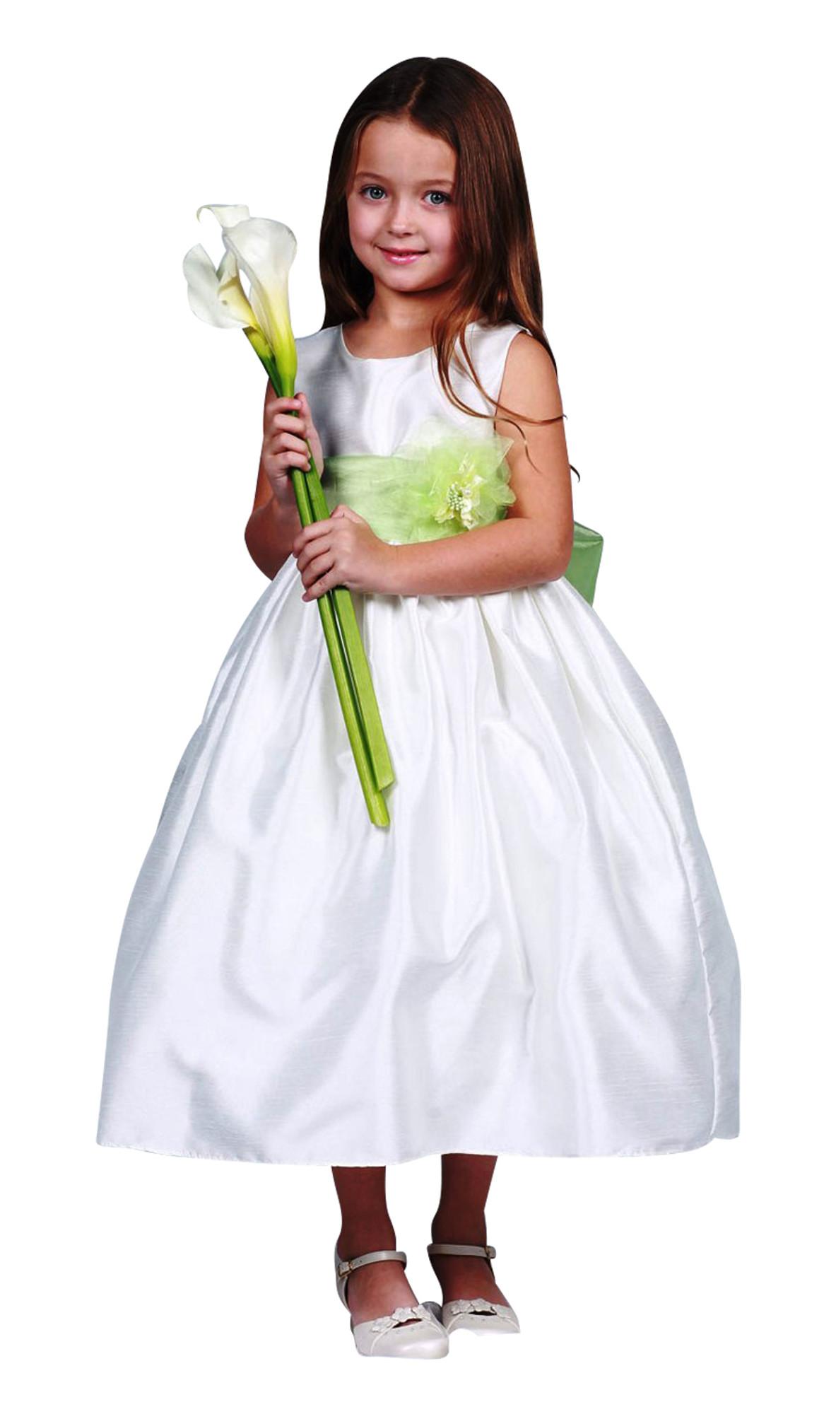 BIMARO Kleid Leonie weiß Festkleid Organza Satin elegant wadenlang Kommunion Hochzeit Blumenkind festlich  001