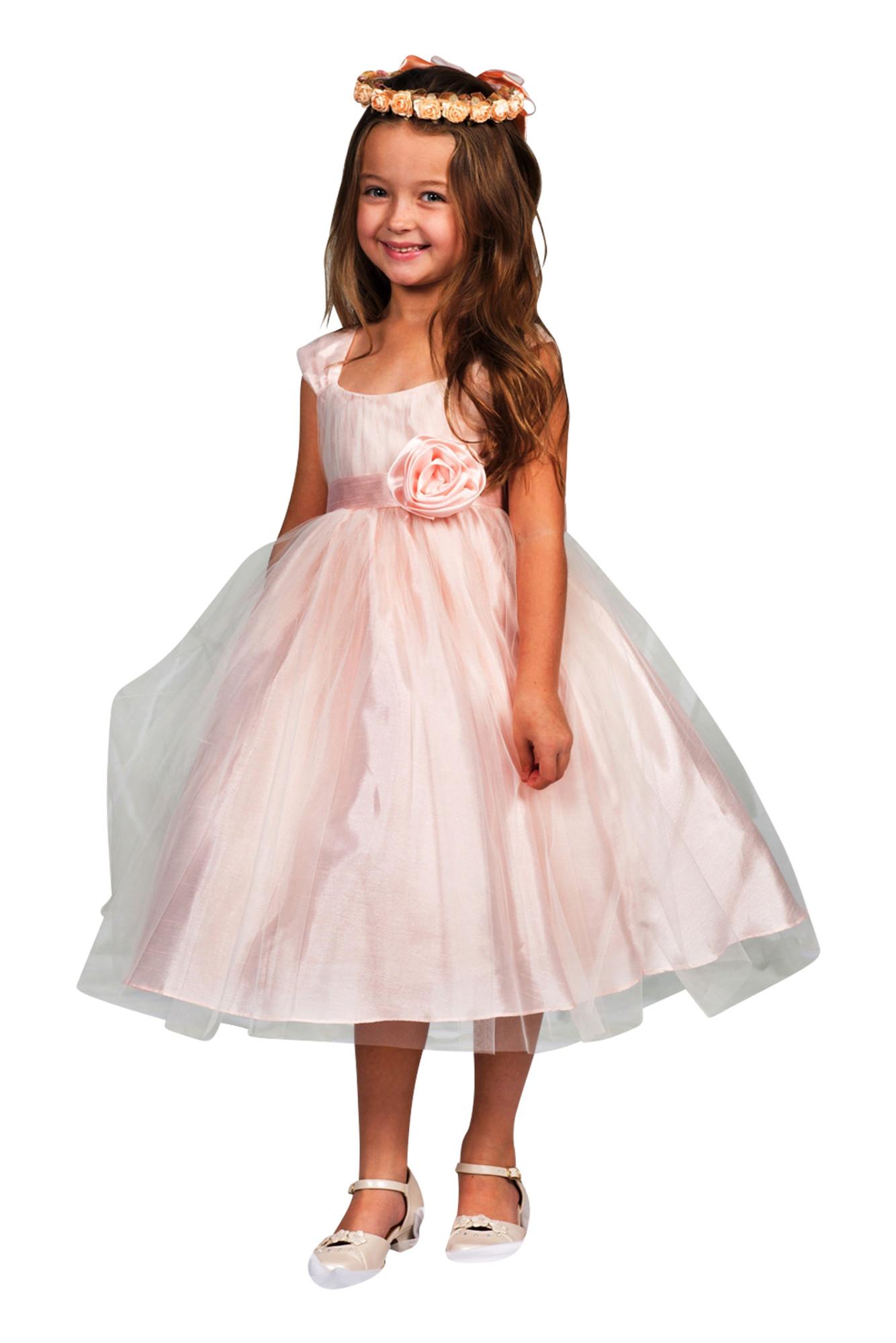 Hübsches Kleid Hannah apricot rosa für Mädchen mit tollem Tüll festlich Hochzeit Taufe Blumenmädchen Tüllkleid Anlass 001