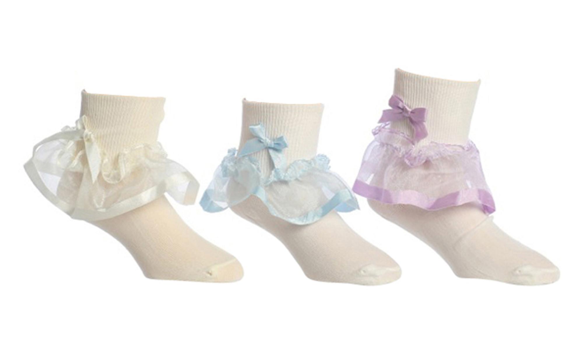 Hübsche Mädchen Söckchen weiß mit Rüsche fein elastisch aus Nylon festlich Organzasaum Schleife Hochzeit Taufe auch Baby 001