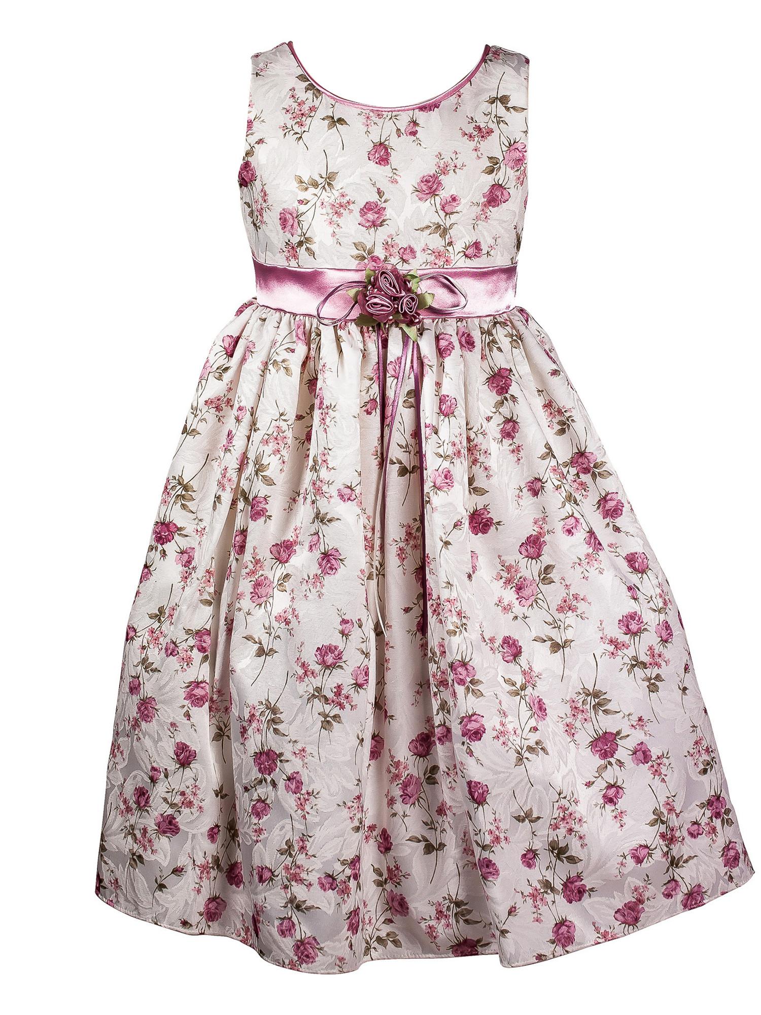 BIMARO Mädchen Kleid Sophie creme beige rosa geblümt festlich Baumwollmischung Schulanfang Hochzeit Blumenmädchen 001