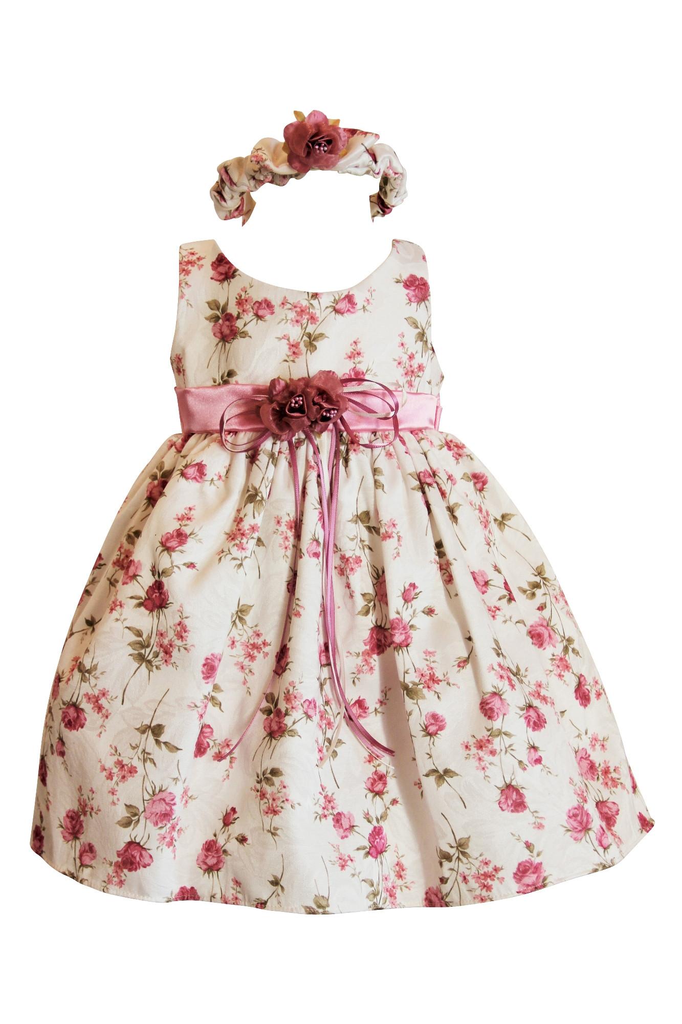 BIMARO Baby Mädchen Babykleid Emma rosa creme beige geblümt Kleid ...