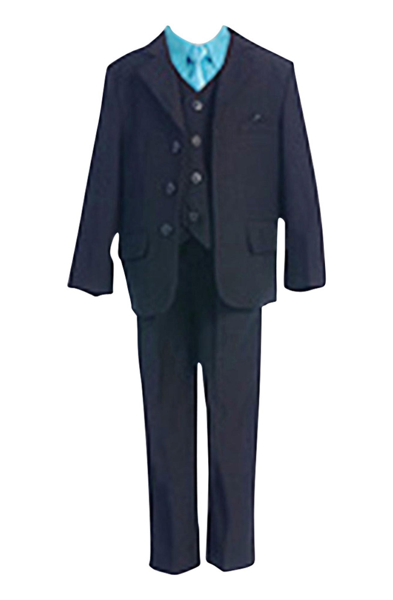 BIMARO Jungen Anzug Bastian schwarz türkis blau Set Hemd Weste Hochzeit Weihnachten Konfirmation festlich