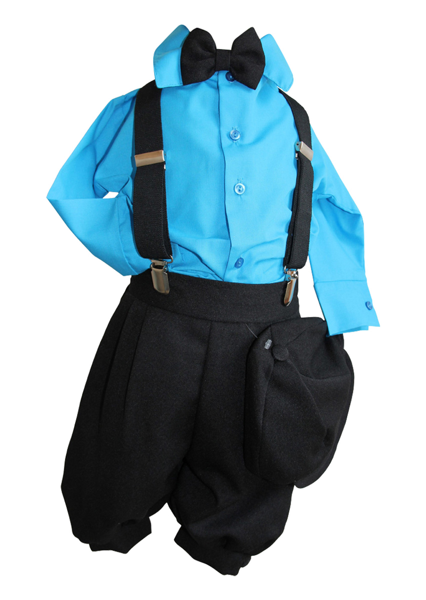 BIMARO Baby Jungen Babyanzug Louis Taufanzug schwarz Hemd türkis blau Fliege Cap Anzug Taufe Hochzeit Weihnachten Set