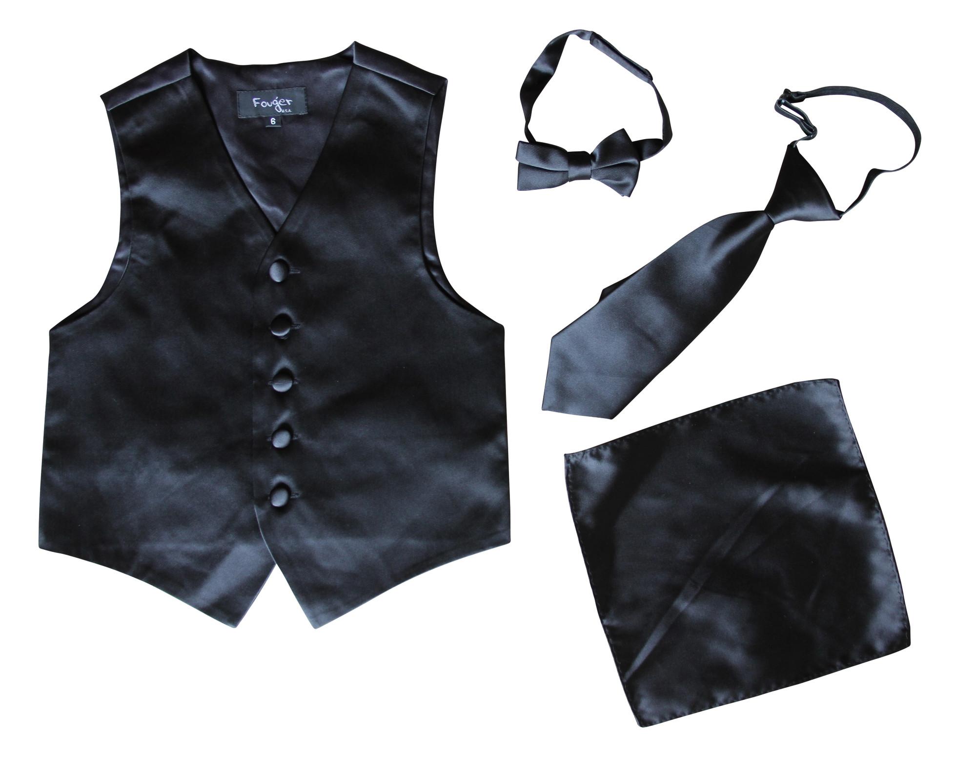 BIMARO Jungen Anzug Weste Alex schwarz Set Weste Krawatte Fliege Tuch festlich Hochzeit Weihnachten Kommunion Taufe 001