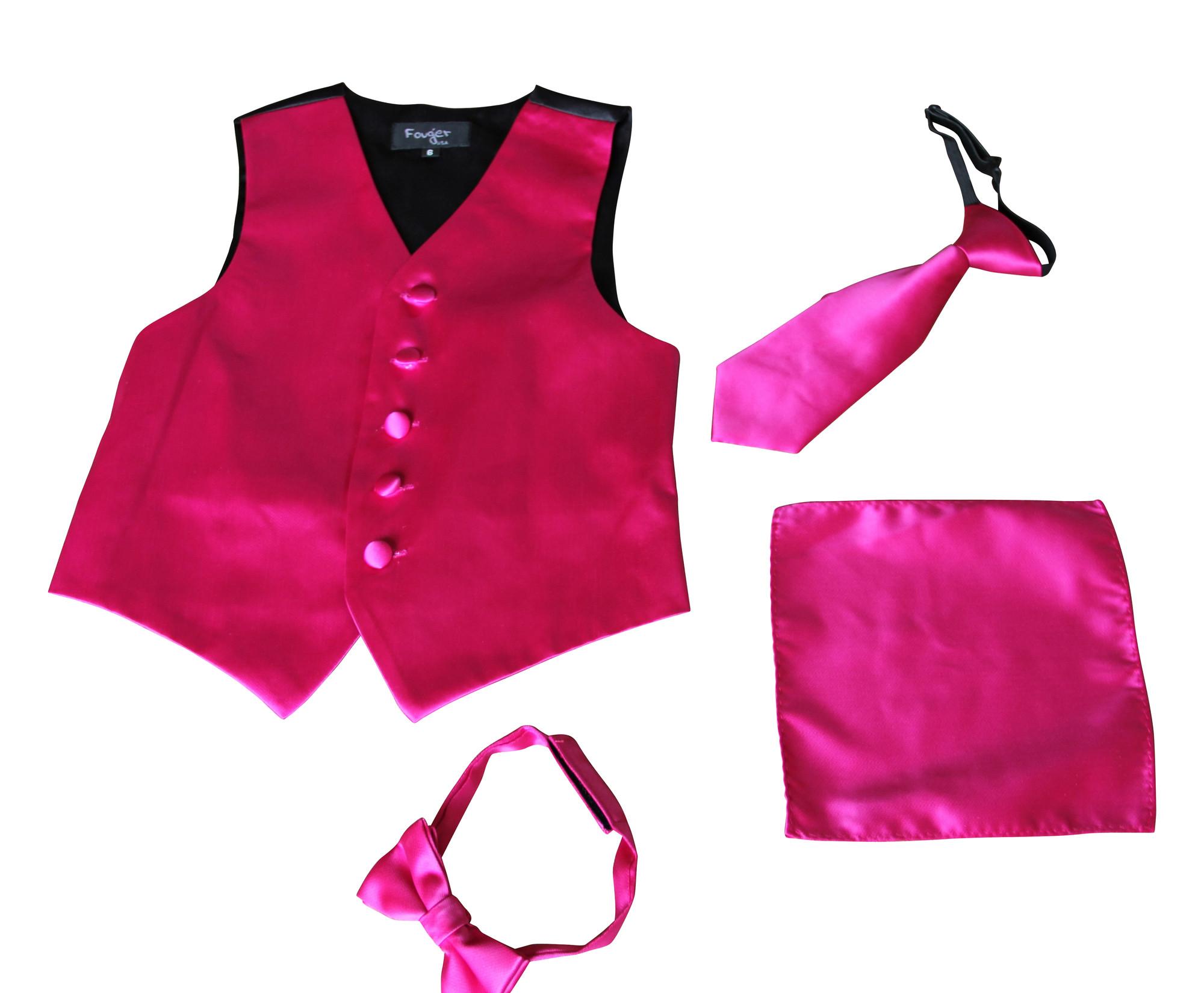 BIMARO Jungen Anzug Weste Alex pink rosa Kinder Set Weste Krawatte Fliege Tuch festlich Hochzeit Weihnachten Taufe