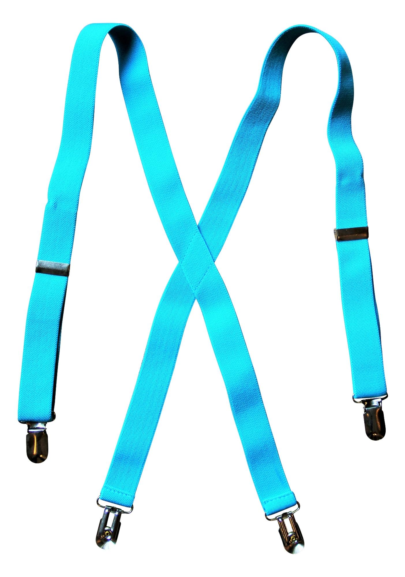 Klassische Hosenträger für Kinder Jungen Mädchen türkis blau elastisch ca. 70 cm
