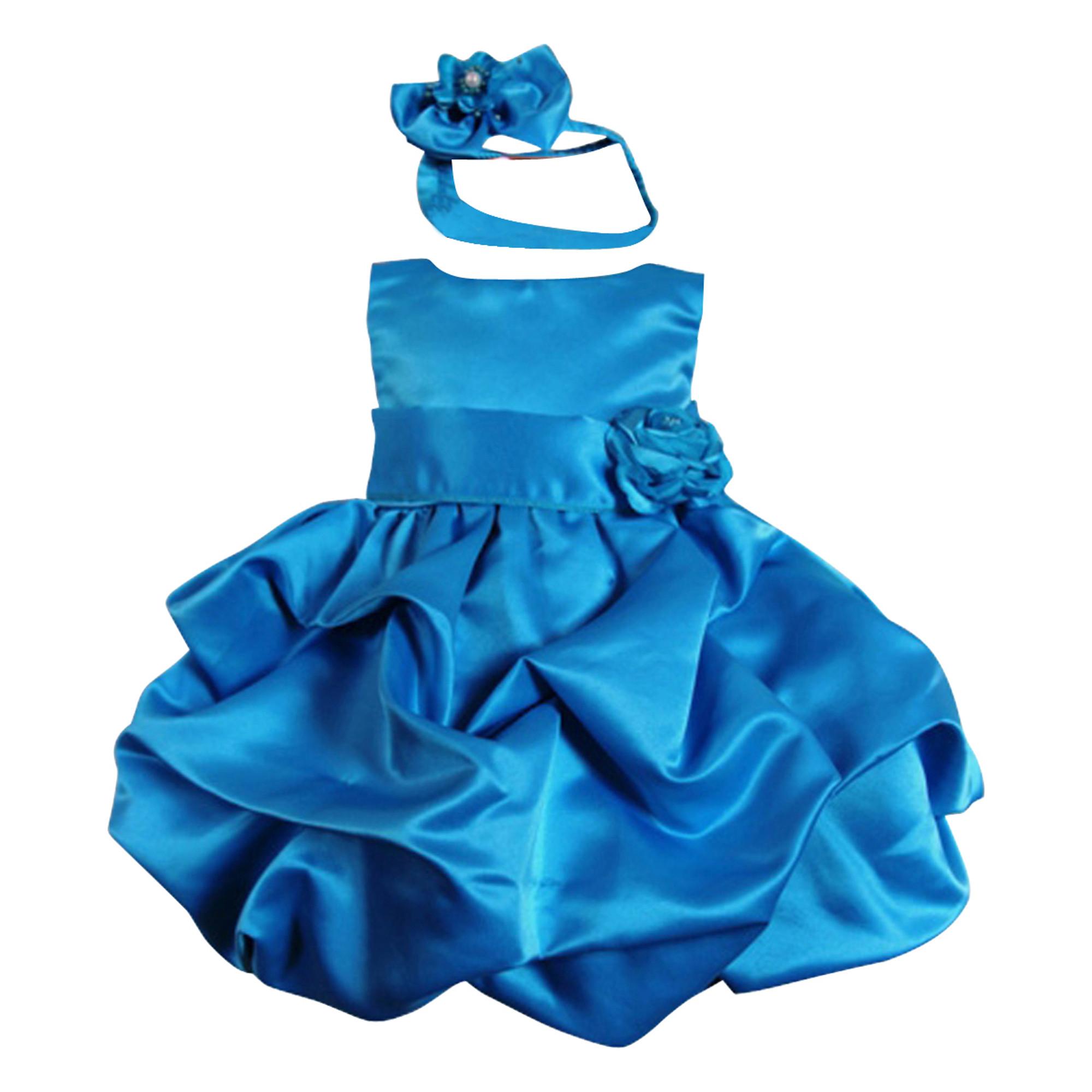 Süßes Babykleid Lucy türkis blau festliches Kleid für Baby edler Satin mit Haarband Hochzeit Taufe Weihnachten