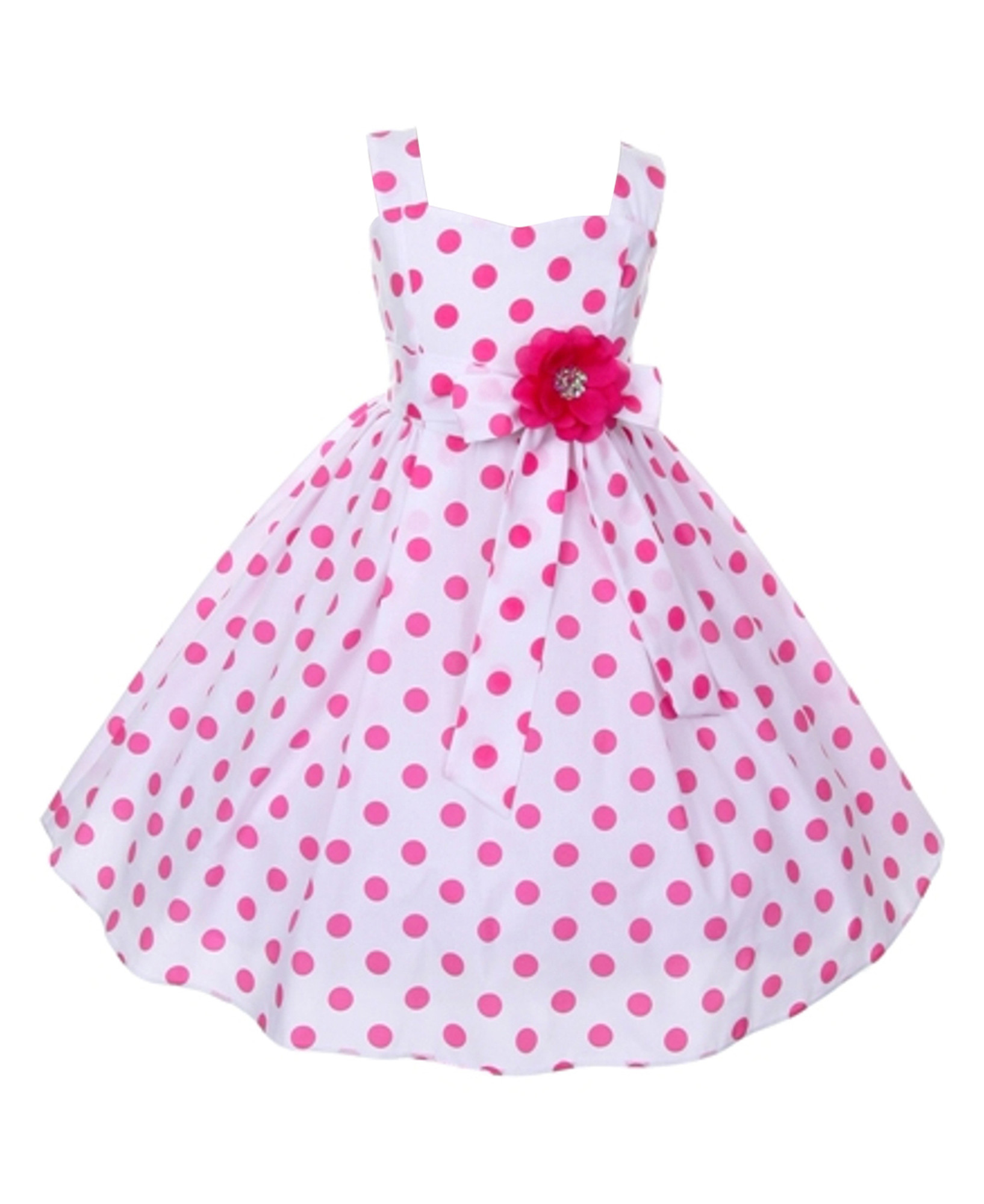 Hübsches Mädchenkleid Emilia Kleid weiß Punkte in pink rosa festlich Baumwollmischung Taufe Hochzeit Schulanfang 001