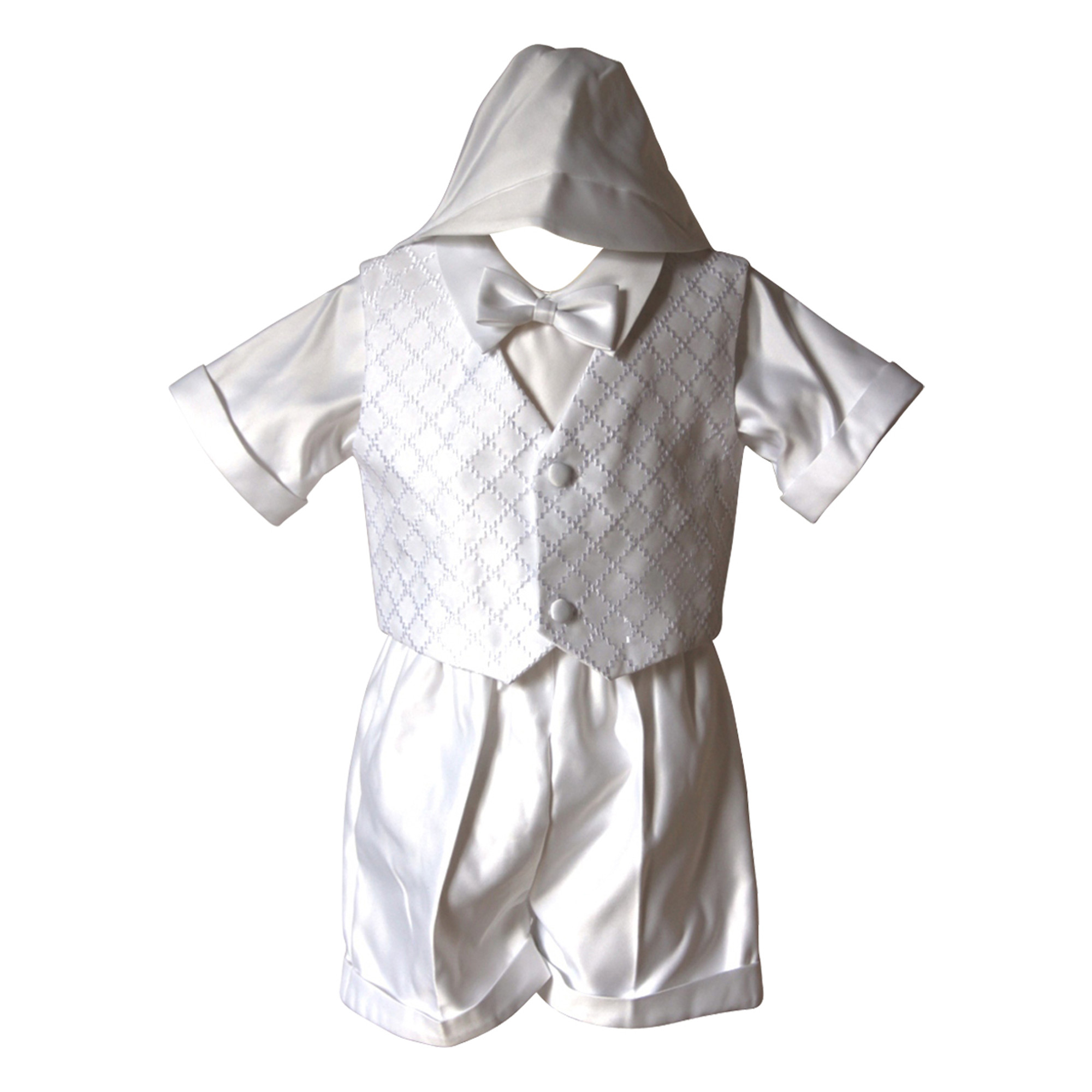 BIMARO Baby Jungen Taufanzug Silas weiß 4teilig Set Satin Sommer kurze Hose Weste Hemdshirt Taufe Hochzeit 001