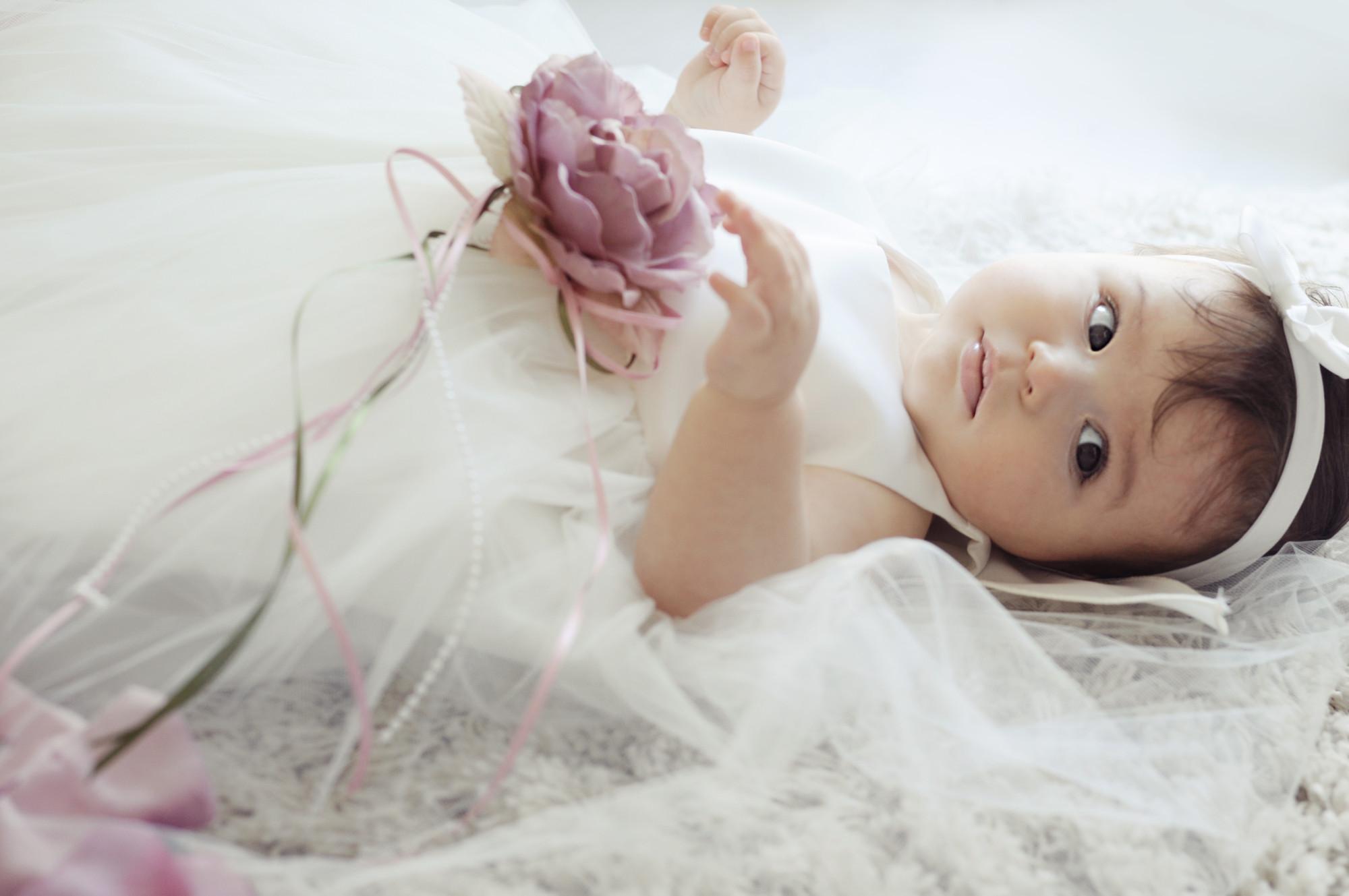 BIMARO Baby Mädchen Babykleid Vivien creme beige Taufkleid Kleid festlich rosa Blüten Tüll Taufe Hochzeit Weihnachten
