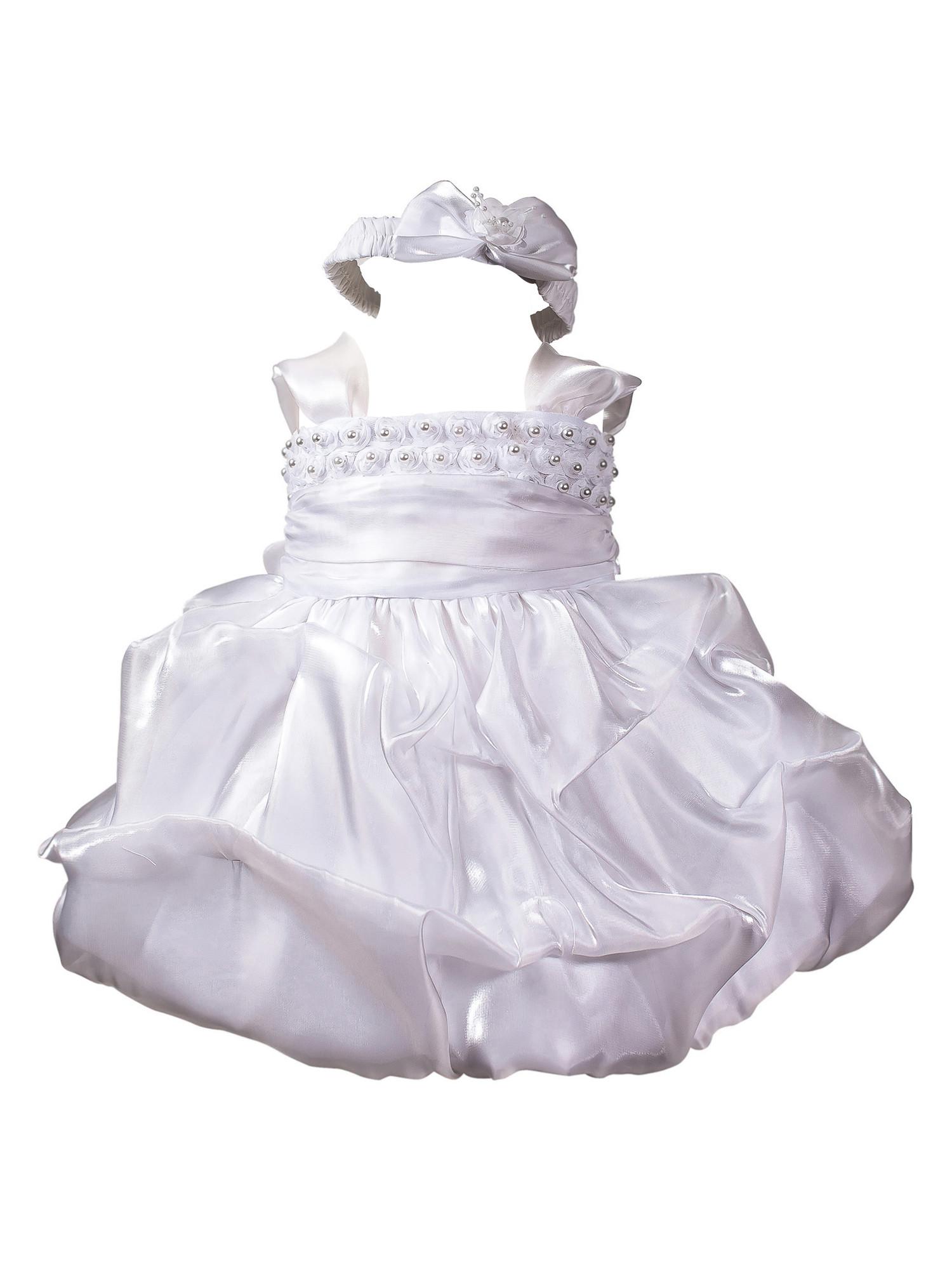 BIMARO Baby Mädchen Taufkleid Sissi Kleid Babykleid Taufkleid weiß Perlen Haarband Satin Ballonrock Hochzeit Taufe  001