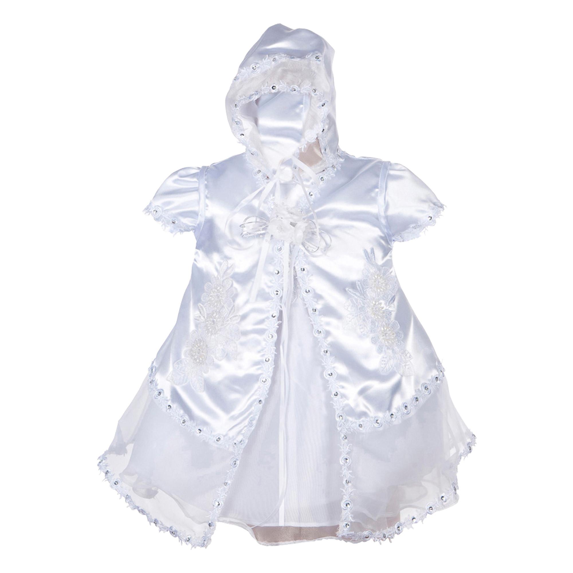 BIMARO Baby Mädchen Taufkleid Melina Babykleid weiß Jacke Mütze Satin Kleid festlich Perlen Pailletten Taufe Hochzeit  001