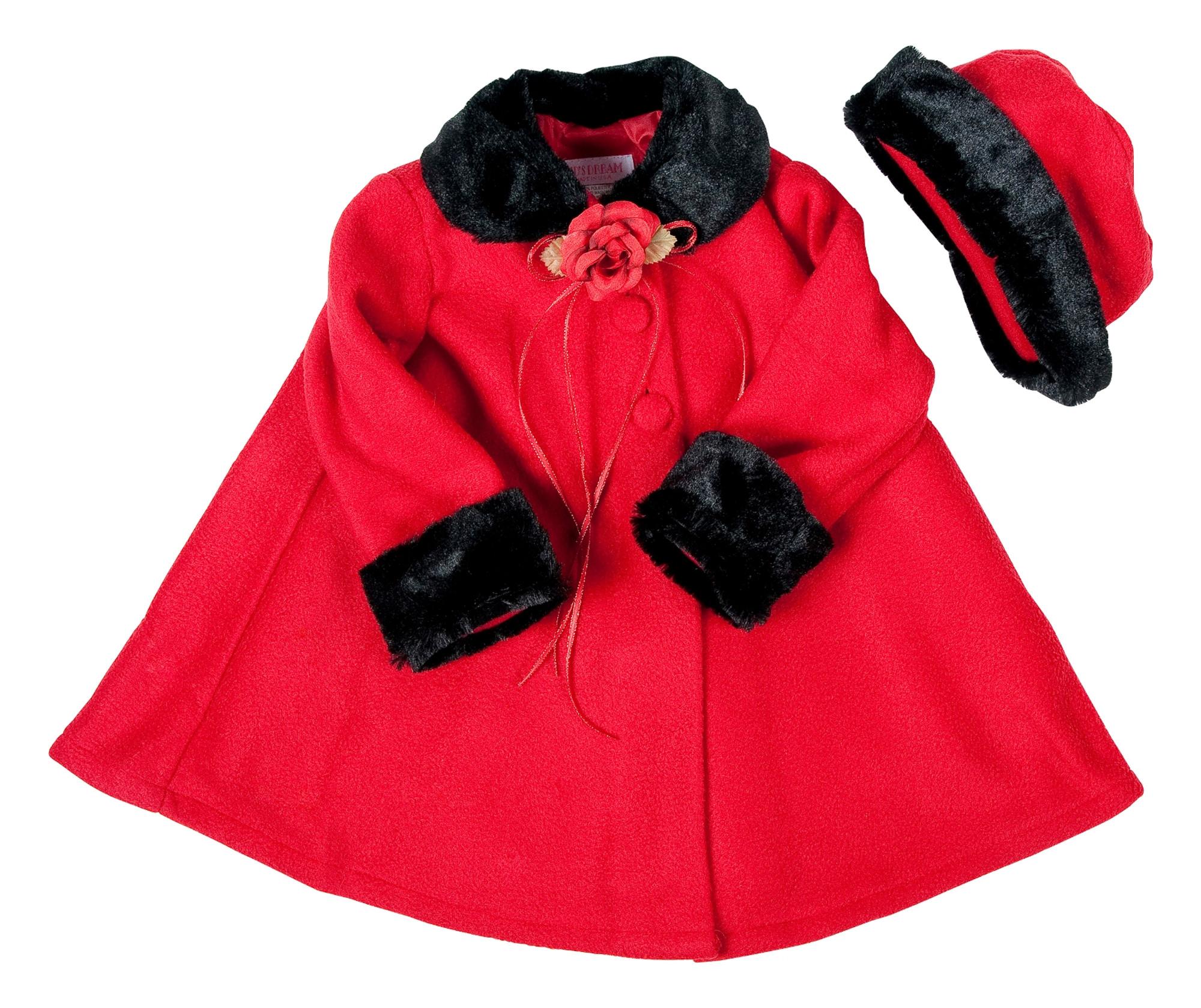 BIMARO Baby Mädchen Babymantel Mila rot und schwarz Fleece mit Mütze Taufmantel Mantel Jacke Hochzeit Taufe Wintermantel