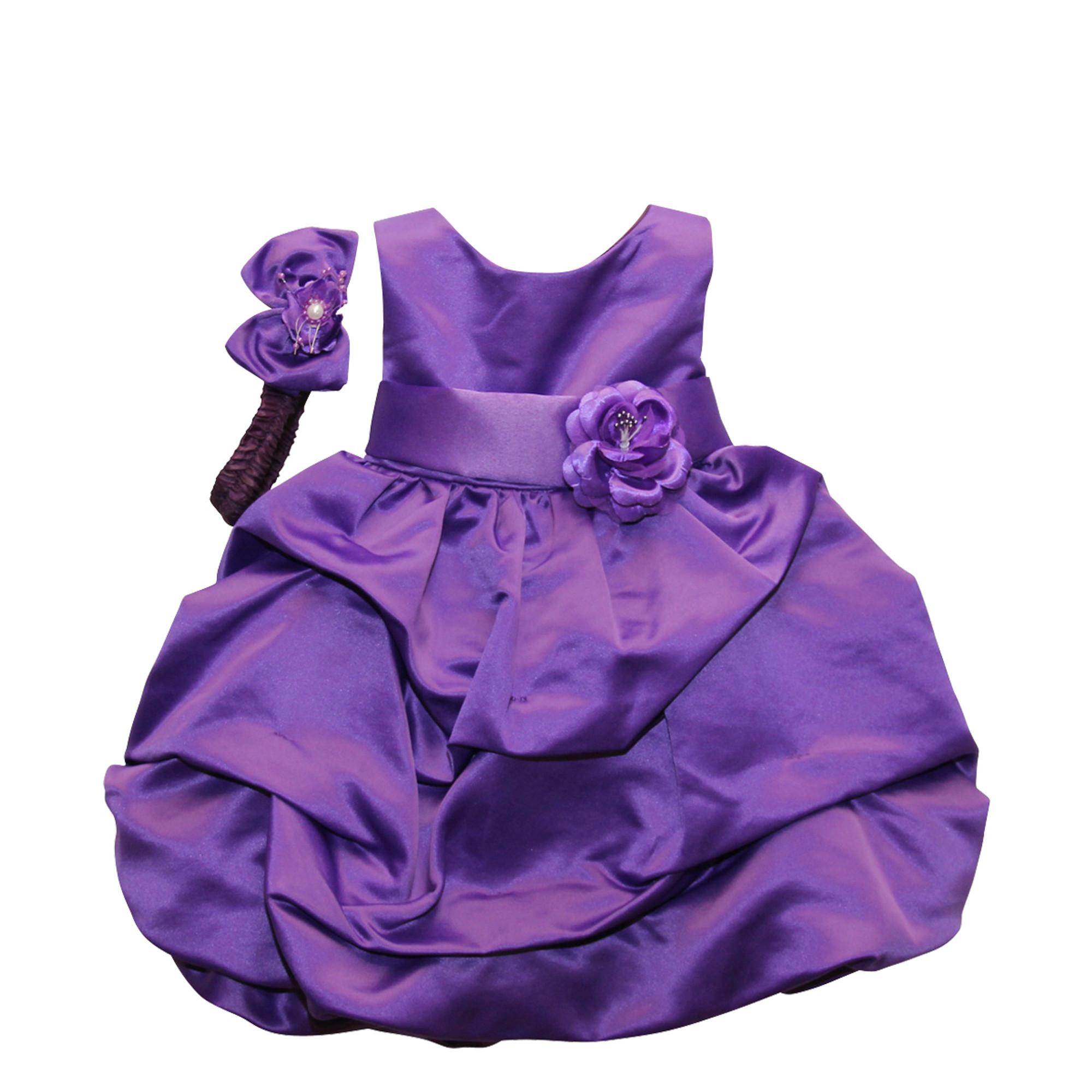 BIMARO Baby Mädchen Babykleid Lucy lila violett Haarband Satin festlich Taufkleid Hochzeit Taufe Feier Weihnachten