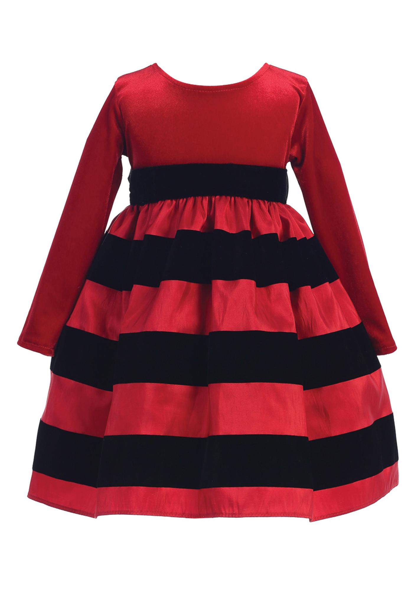 BIMARO Baby Mädchen Kleid Lissy rot Streifen schwarz Samt Samtkleid Taufkleid Winter Taufe Hochzeit festlich Weihnachten 001