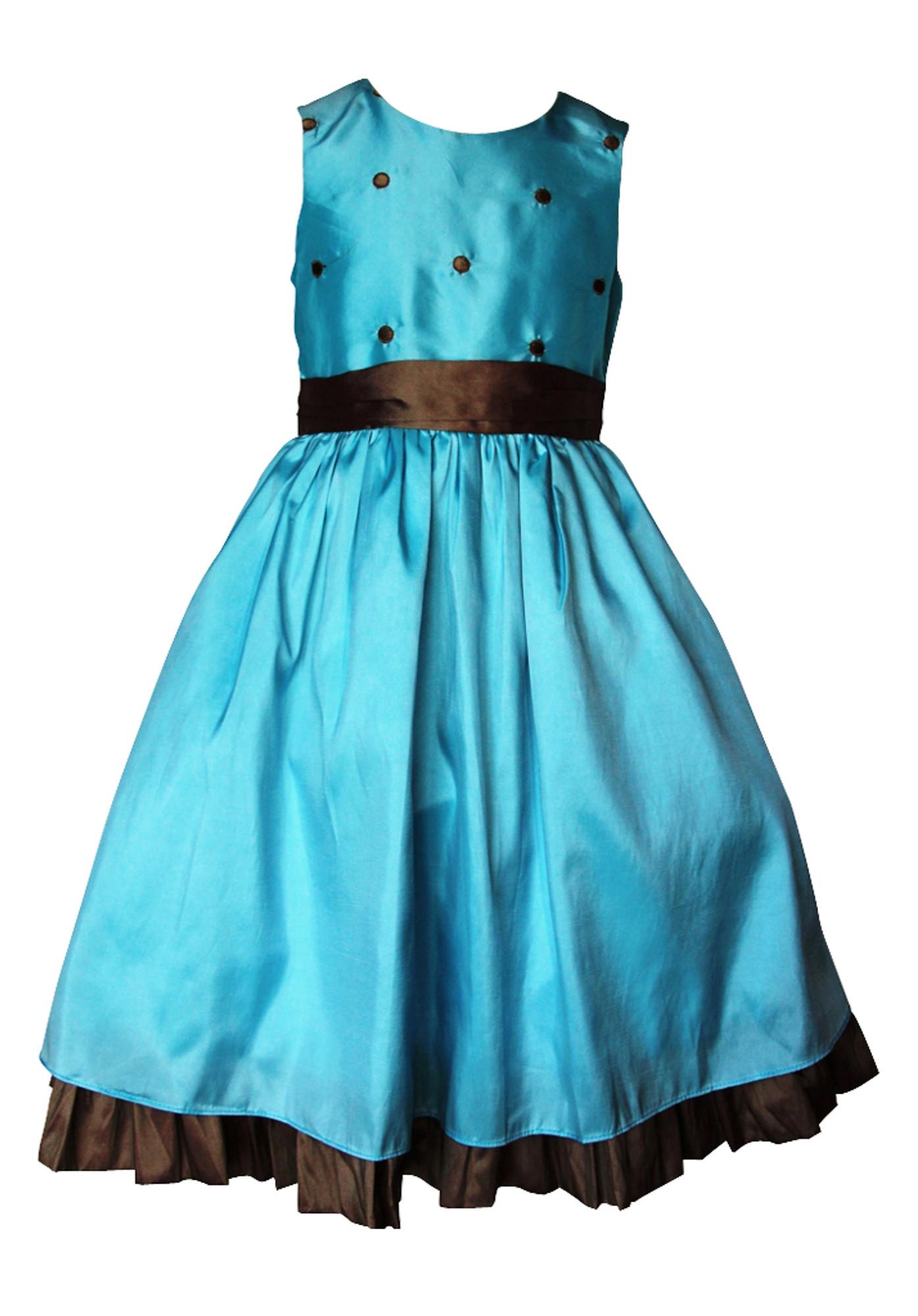 BIMARO Mädchen Kleid Bella türkis blau Punkte Blumenmädchenkleid Hochzeit Weihnachten festlich
