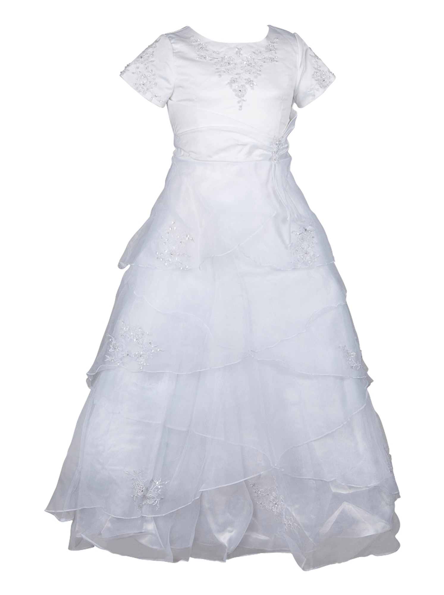 BIMARO Mädchen Kleid Stella Kommunionkleid weiß lang kurzarm Lagenrock Satin und Organza Glitzerperlen Kommunion