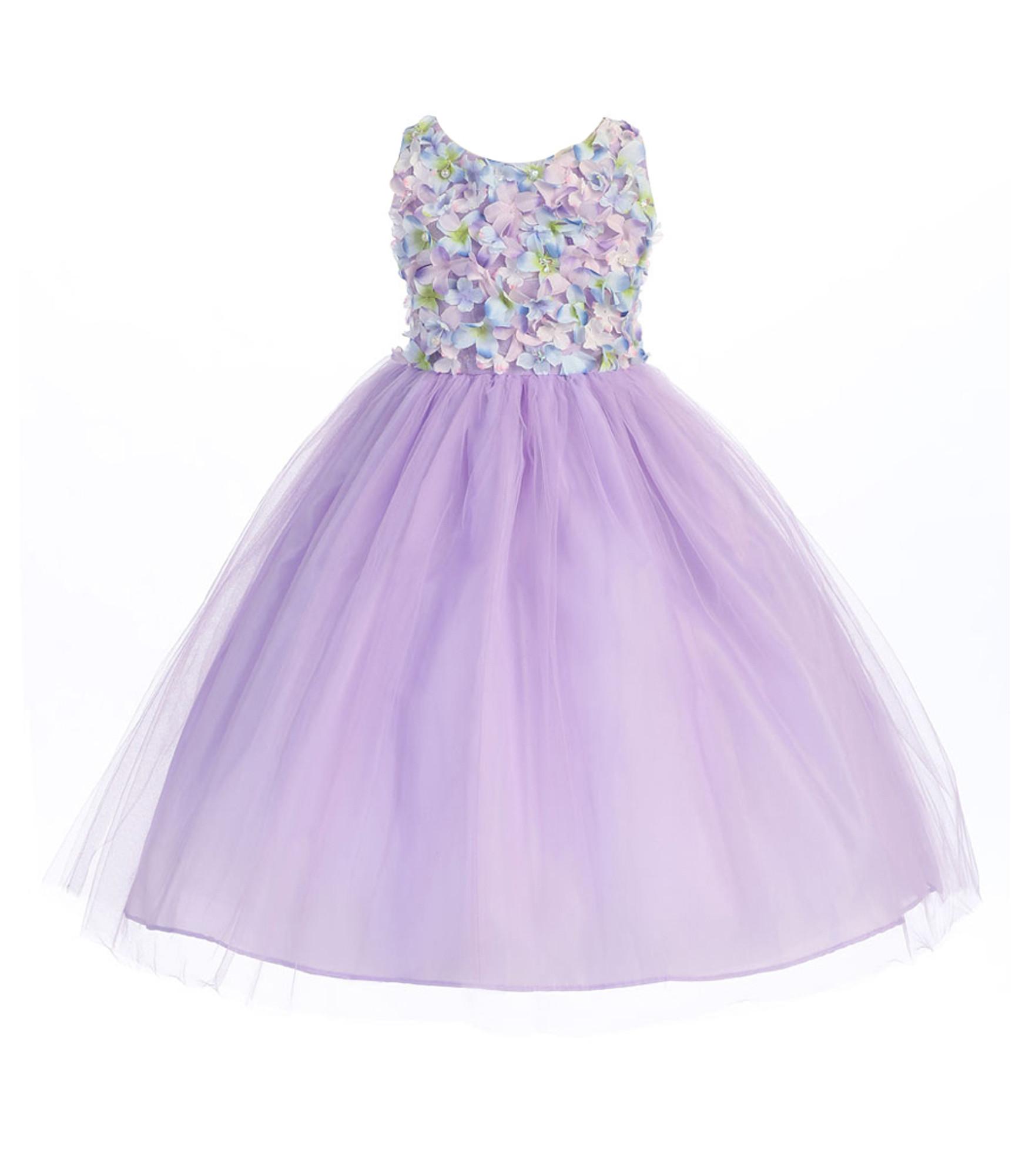 BIMARO Mädchen Kleid Rosalie flieder lila Blüten Perlen Tüll festlich Hochzeit Blumenmädchen Tüllkleid pastell 001